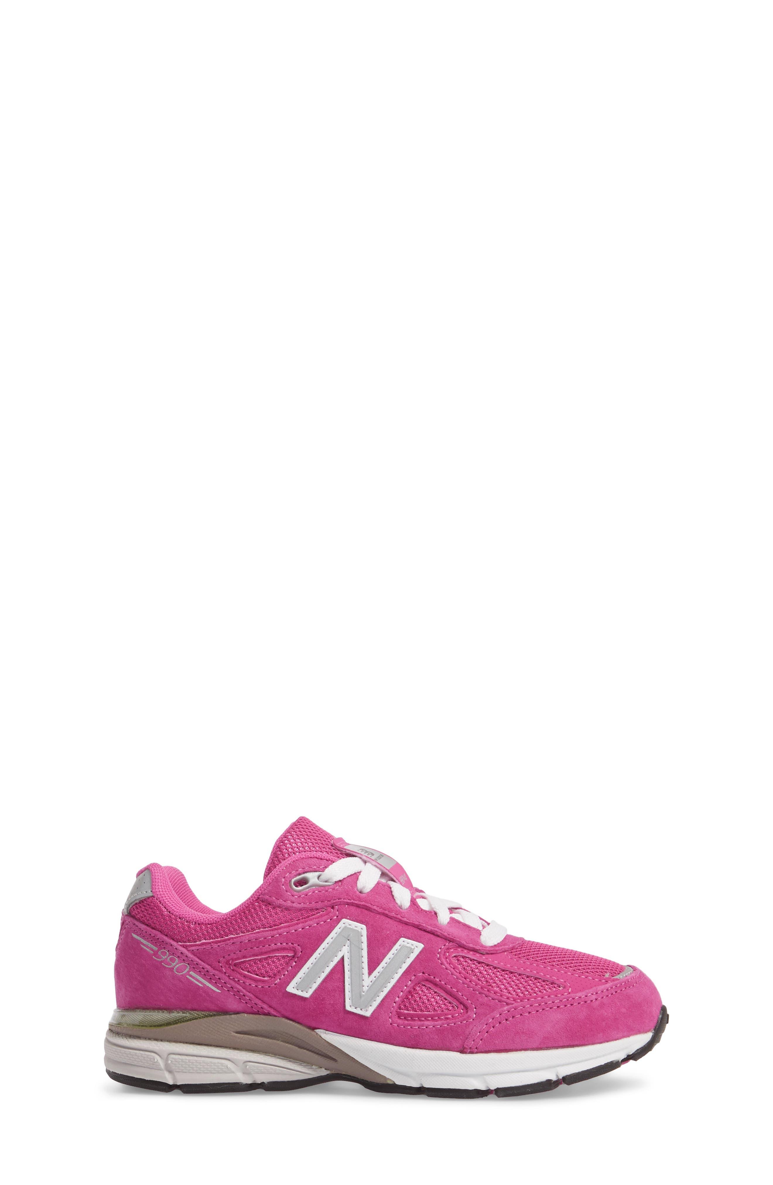 990v4 Sneaker,                             Alternate thumbnail 3, color,                             Pink