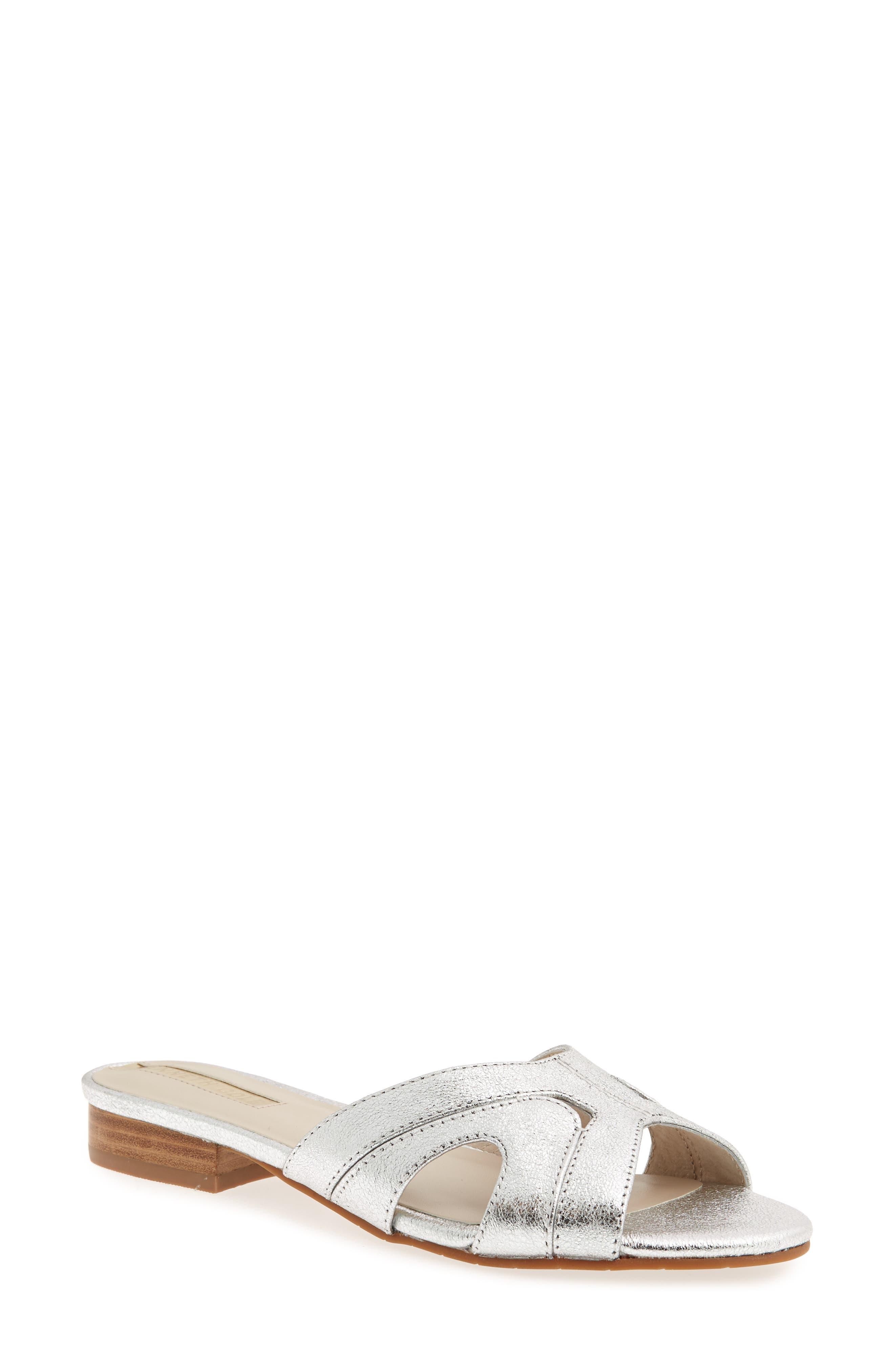 Viveca Slide Sandal,                             Main thumbnail 1, color,                             Silver Leather