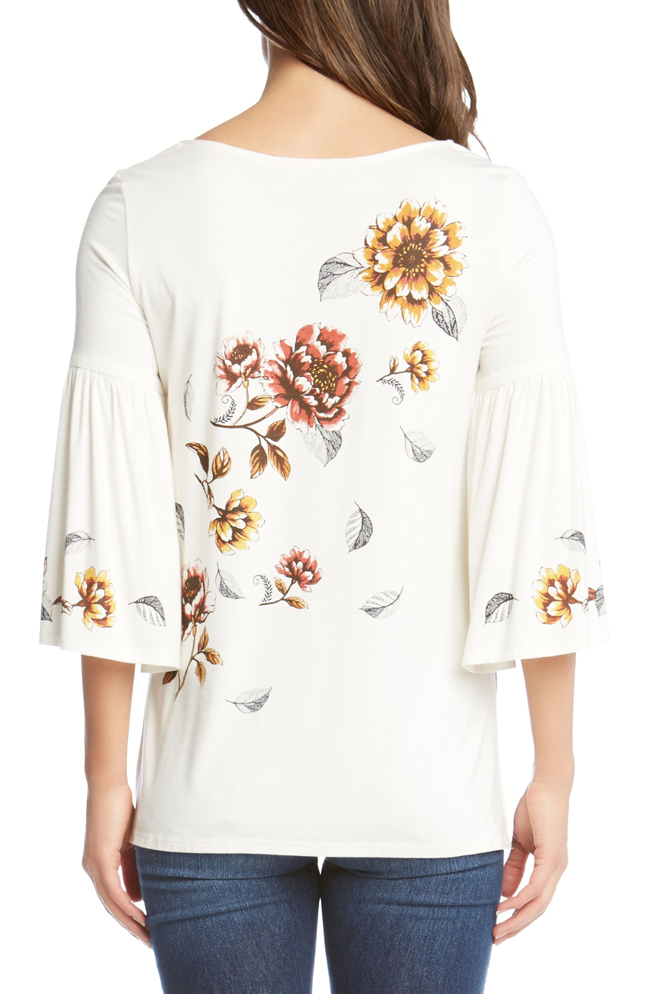 Bell Sleeve Floral Top,                             Alternate thumbnail 2, color,                             Cream