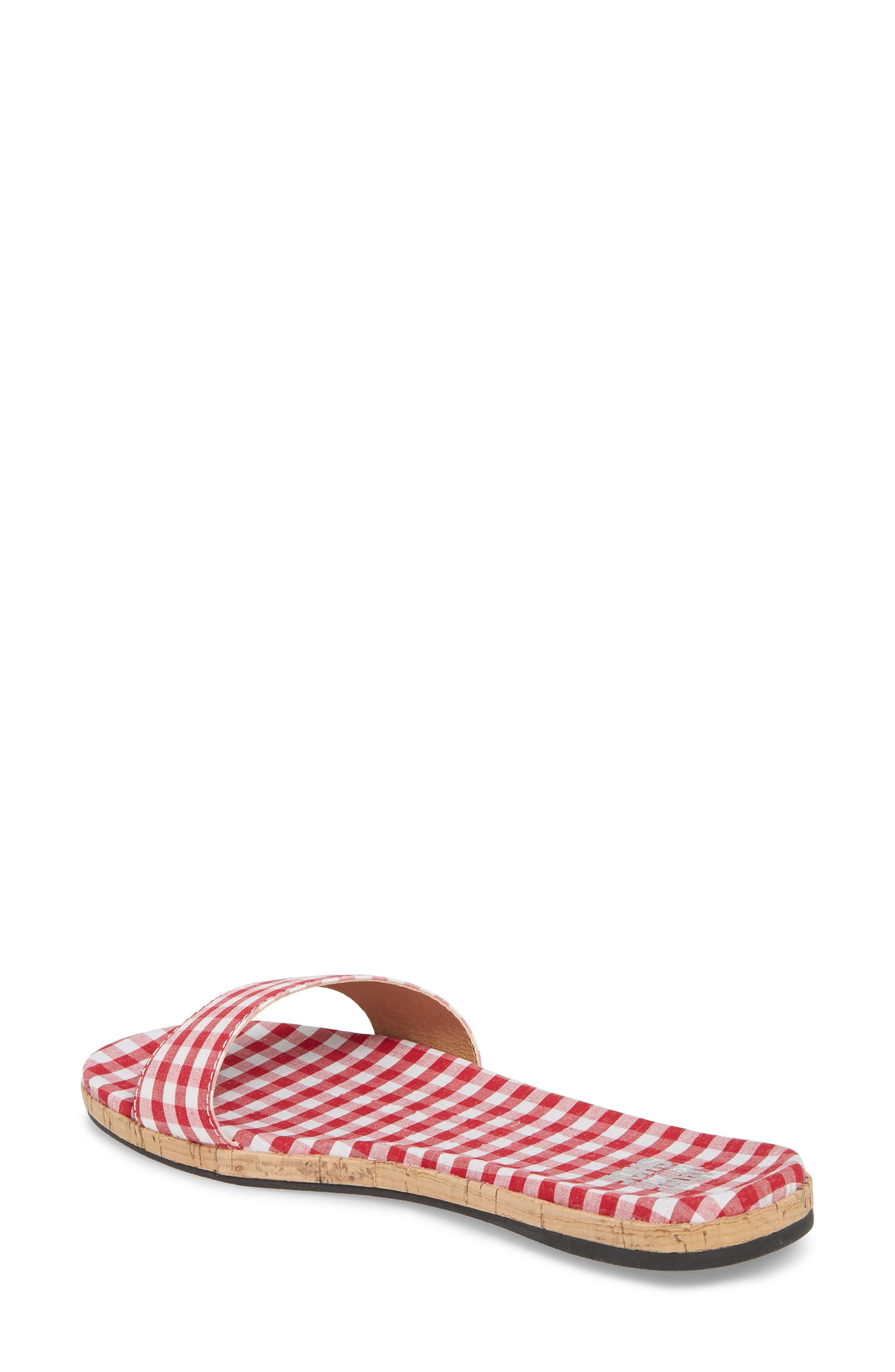 Jill Thin Band Slide Sandal,                             Alternate thumbnail 2, color,                             Red Gingham