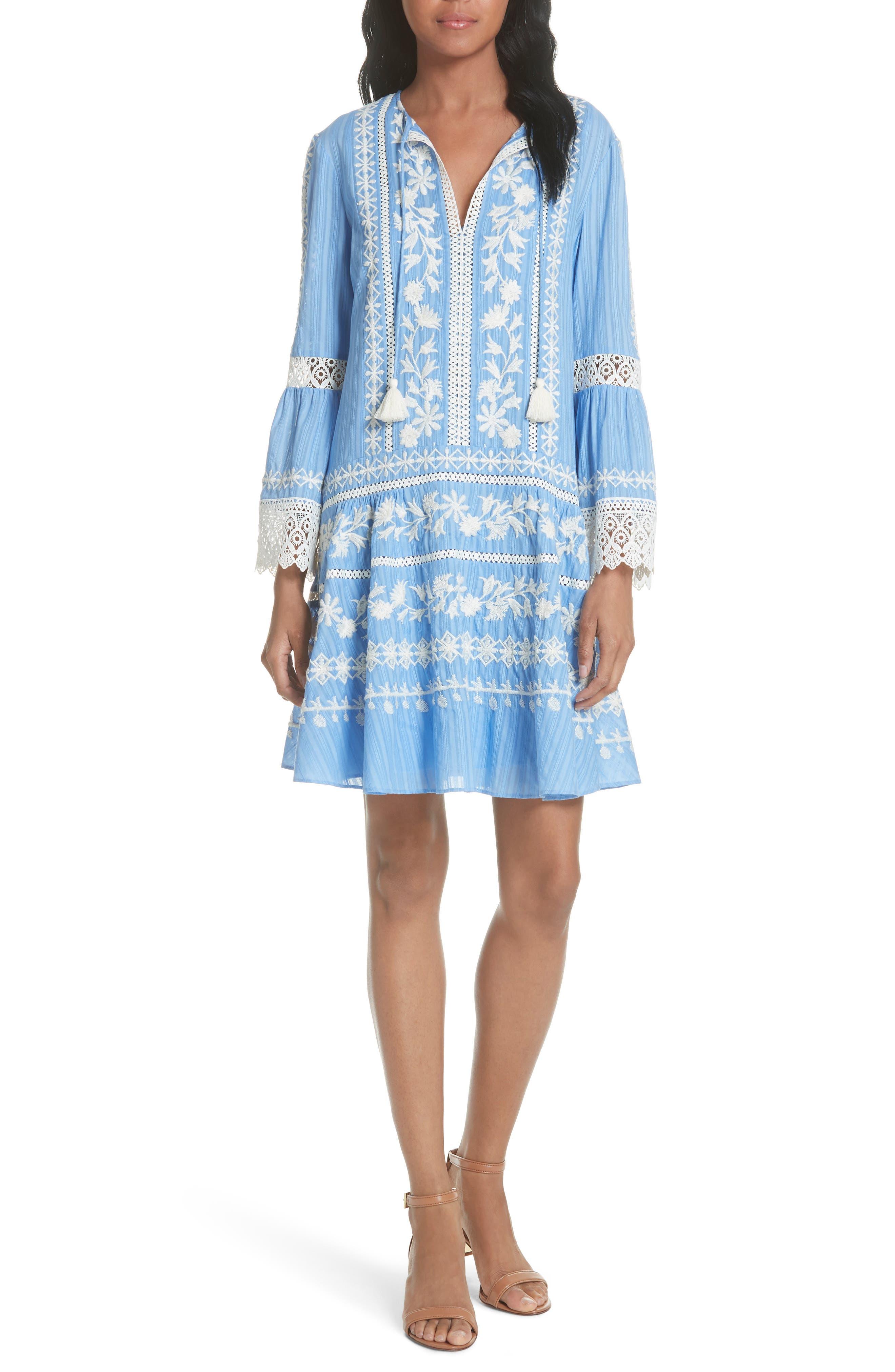 Gabriella Cotton Shift Dress,                             Main thumbnail 1, color,                             Blue Dusk