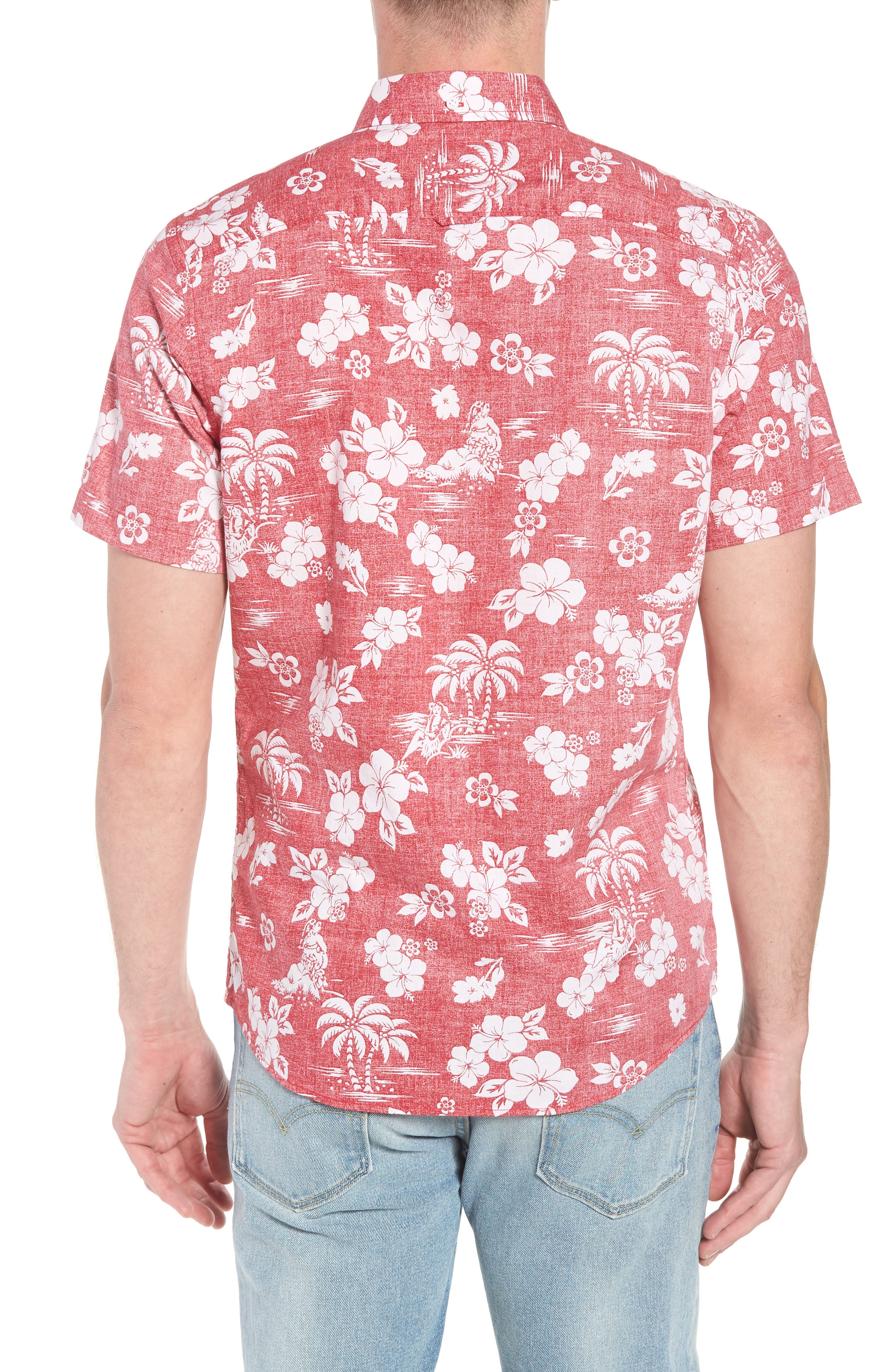 Trim Fit Island Print Sport Shirt,                             Alternate thumbnail 3, color,                             Red Pompeii Hula Girls