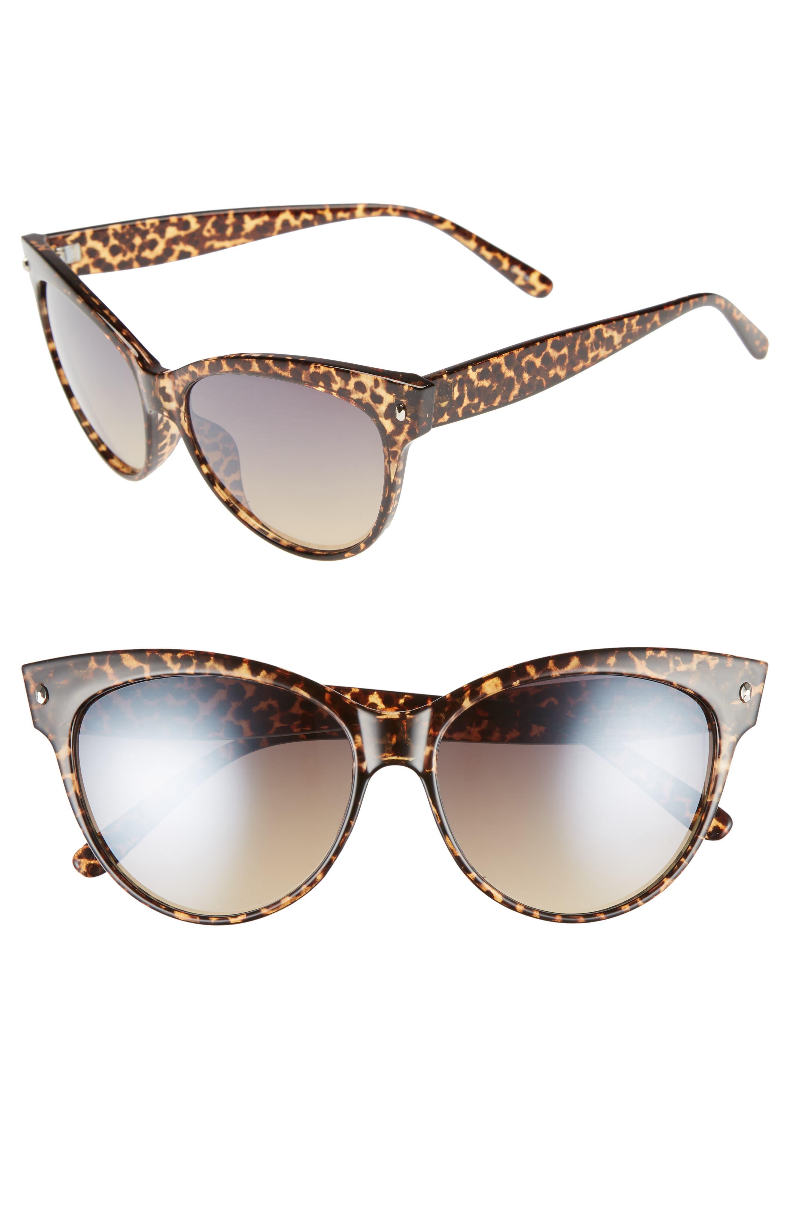 56mm Print Cat Eye Sunglasses,                         Main,                         color, Leopard/ Brown