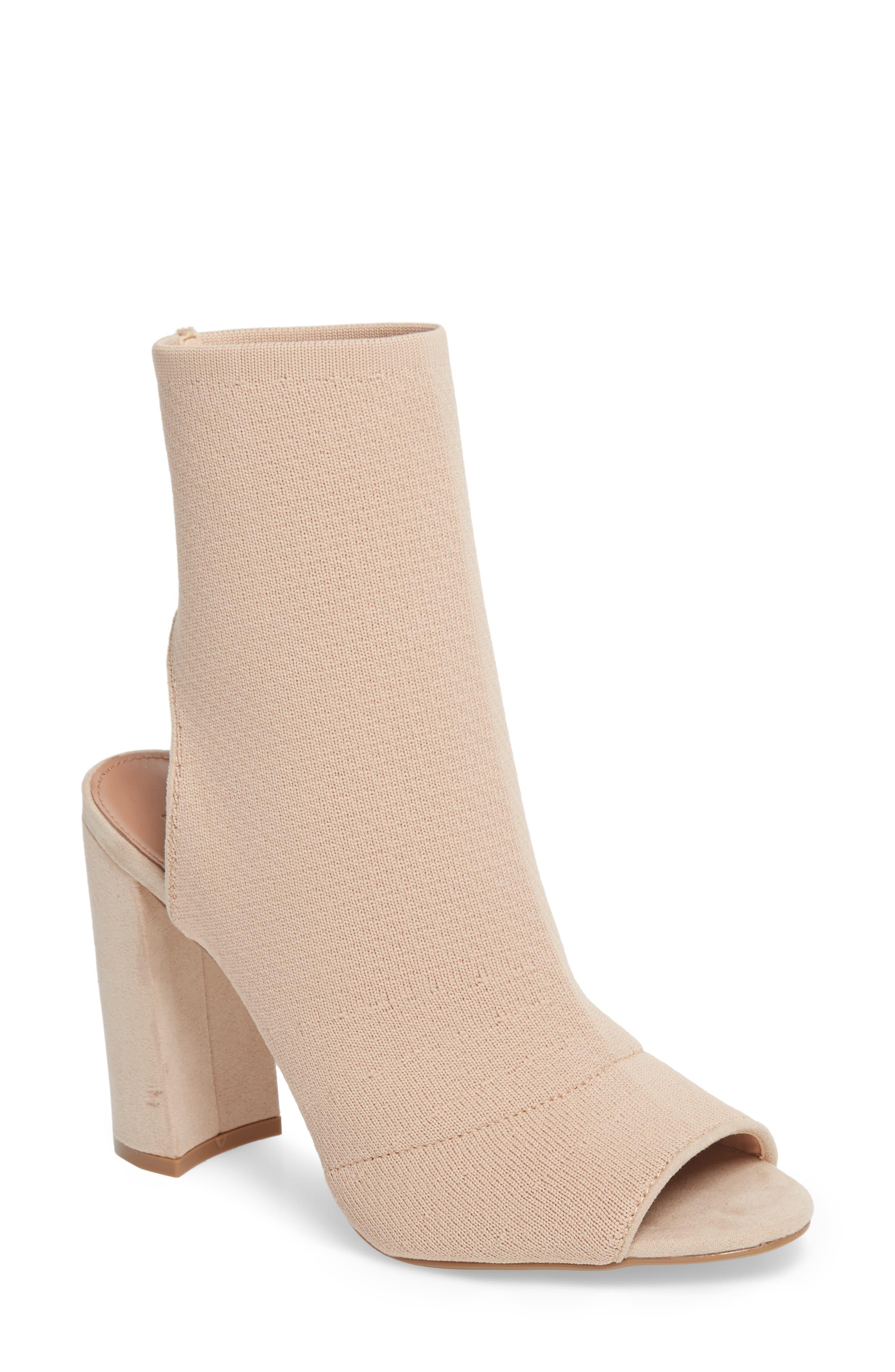 Sister Block Heel Sock Bootie,                         Main,                         color, Nude