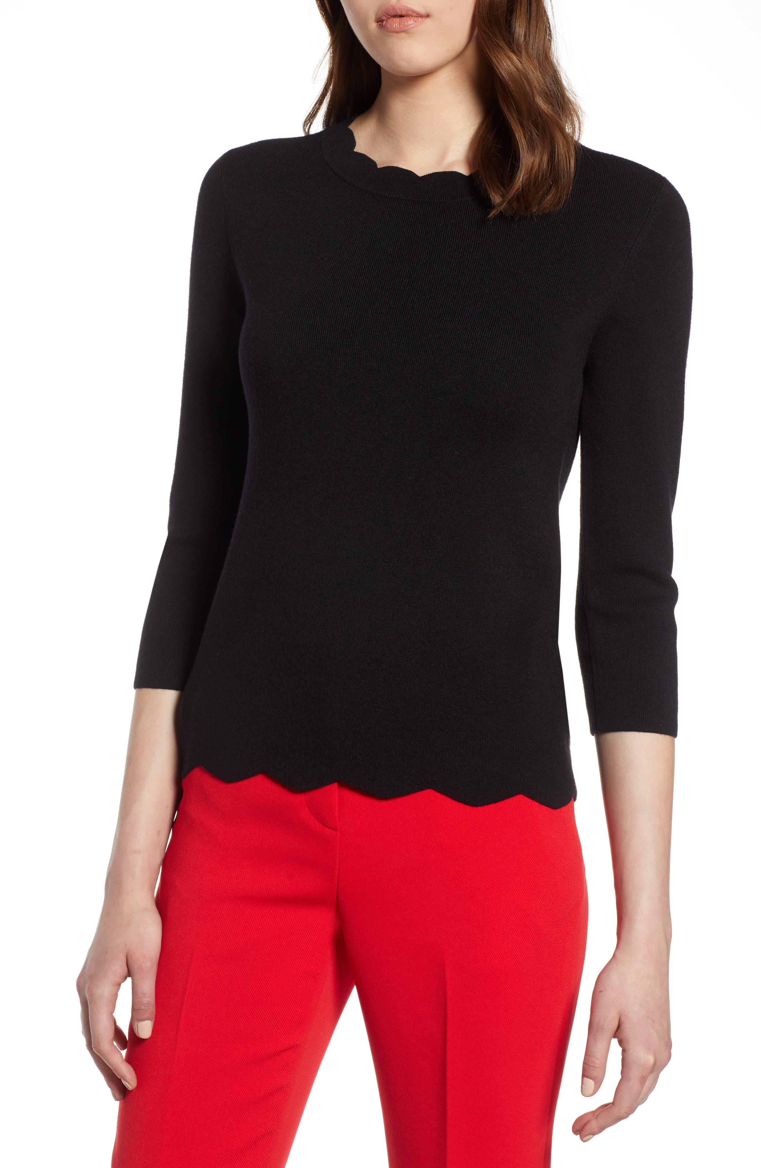 Halogen Scallop Edge Sweater,                             Main thumbnail 1, color,                             Black