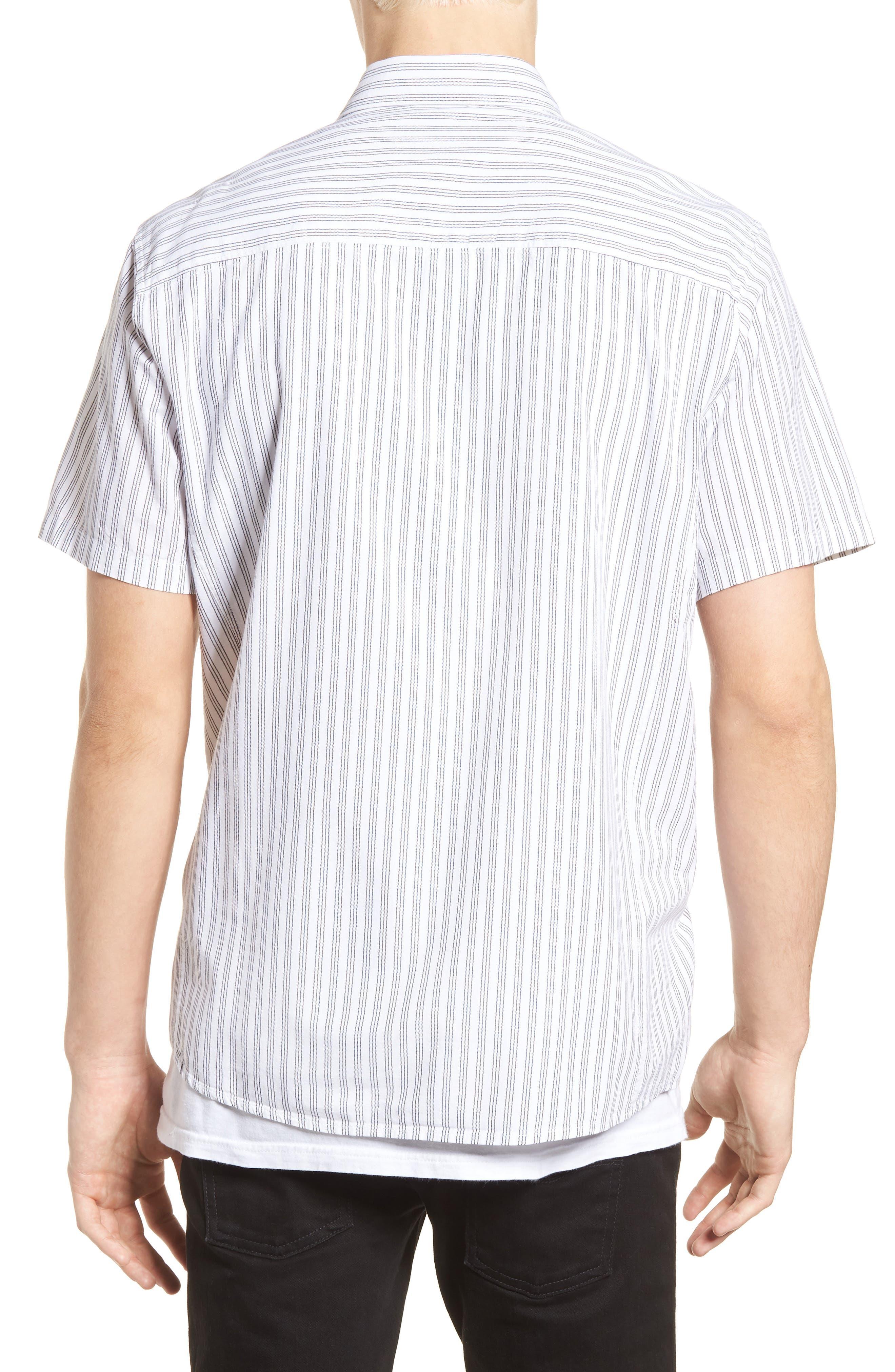 Rollins Woven Shirt,                             Alternate thumbnail 2, color,                             Black/White Stripe