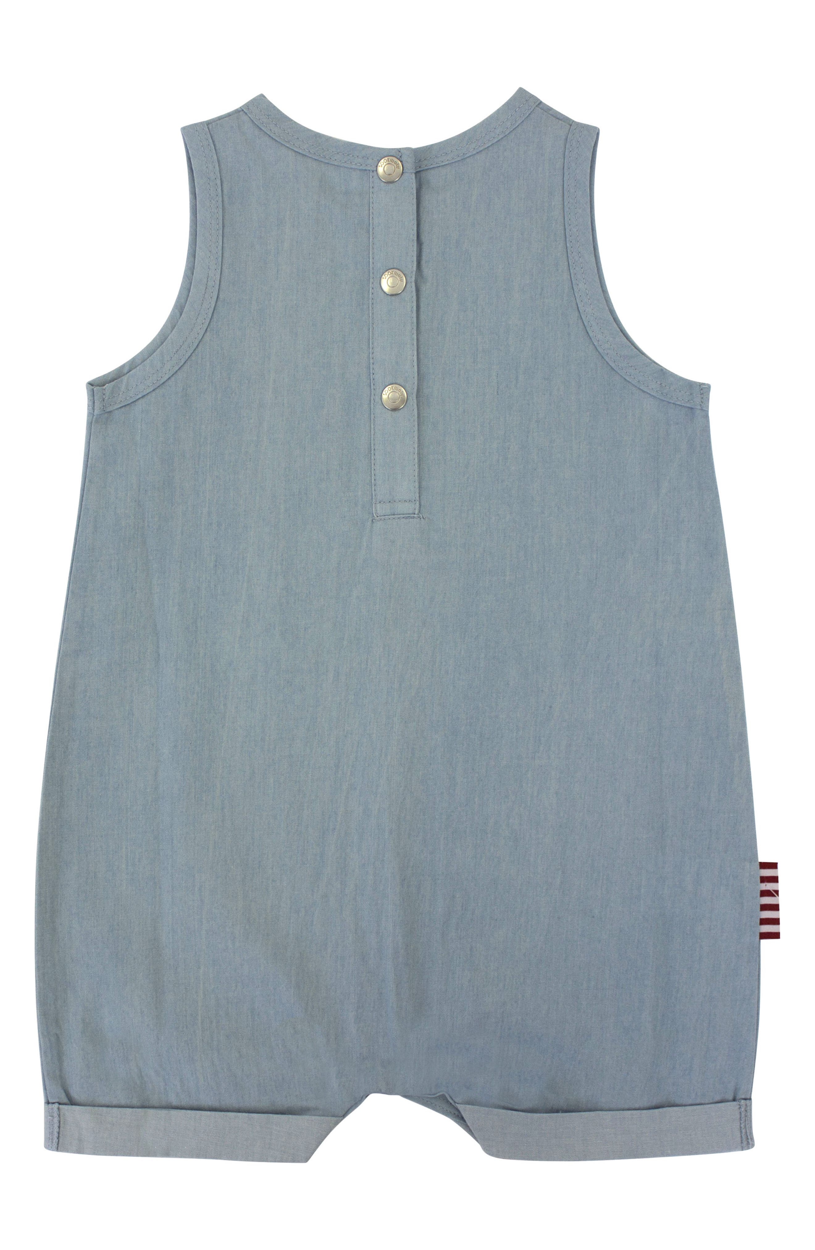 Cool Cat Romper,                             Alternate thumbnail 2, color,                             Chambray