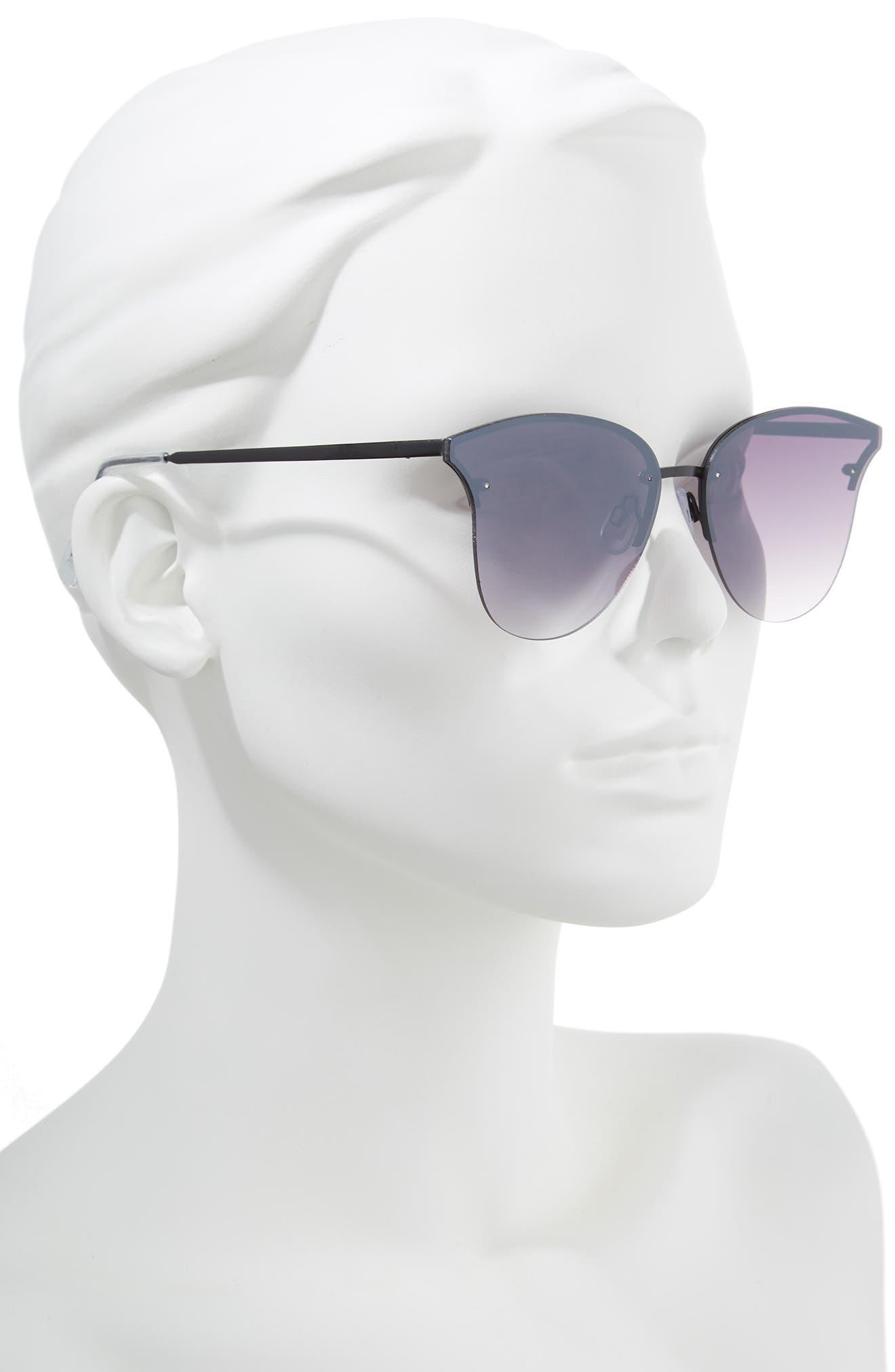61mm Rimless Cat Eye Sunglasses,                             Alternate thumbnail 2, color,                             Black/ Black