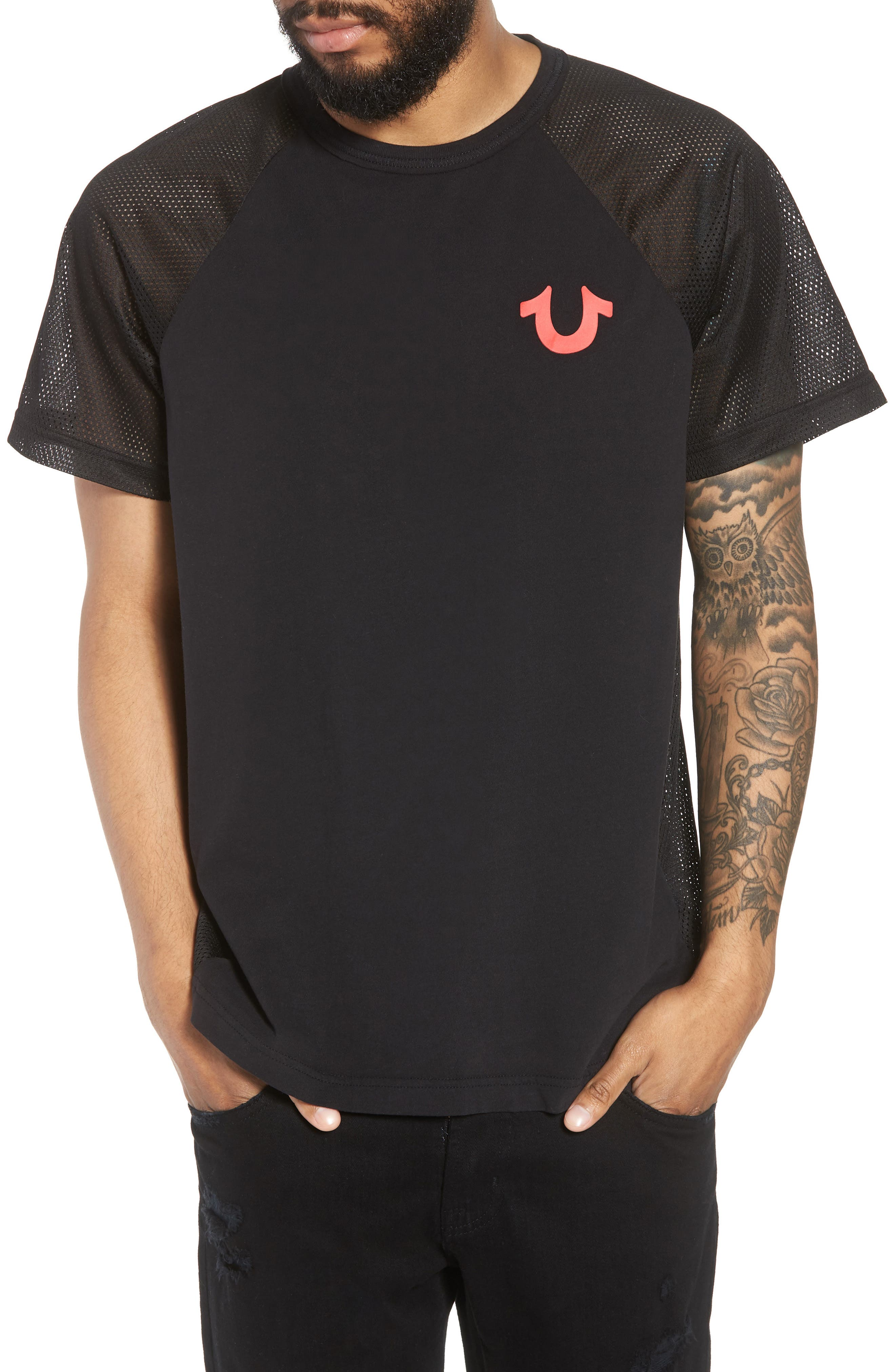 Solid Raglan T-Shirt,                             Main thumbnail 1, color,                             True Black