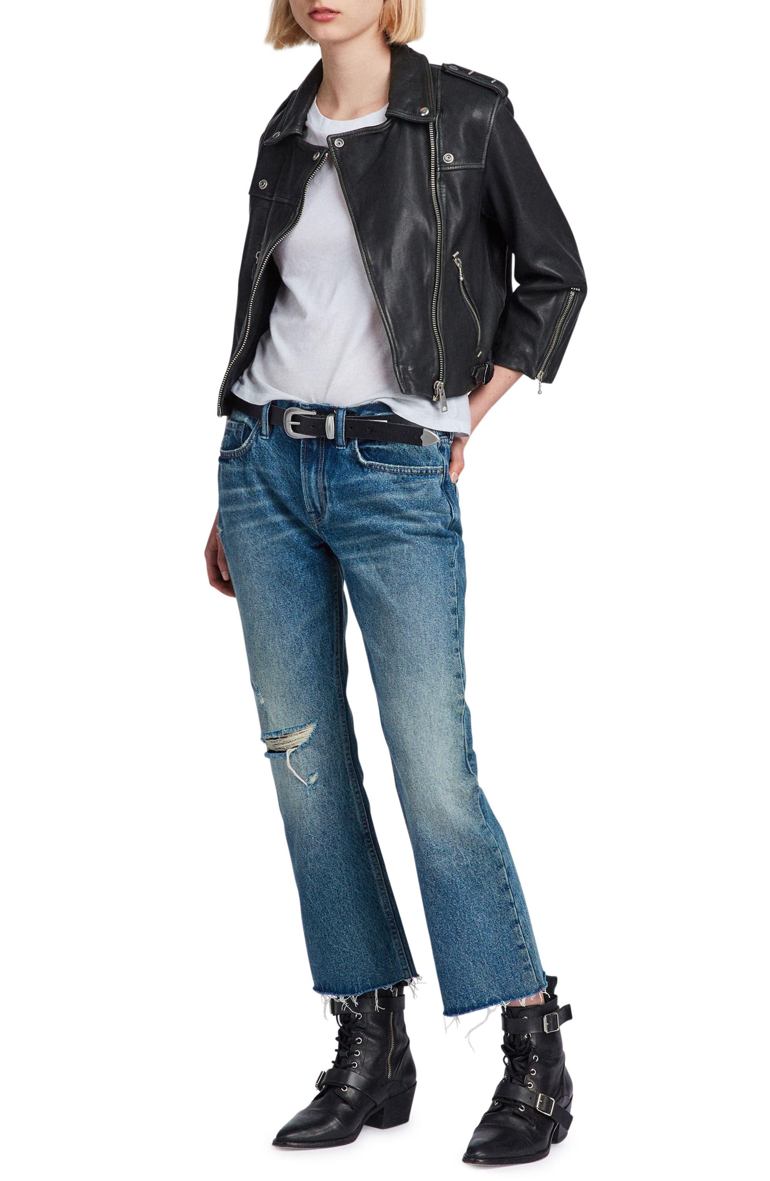 Lara Sheepskin Leather Biker Jacket,                             Alternate thumbnail 6, color,                             Black