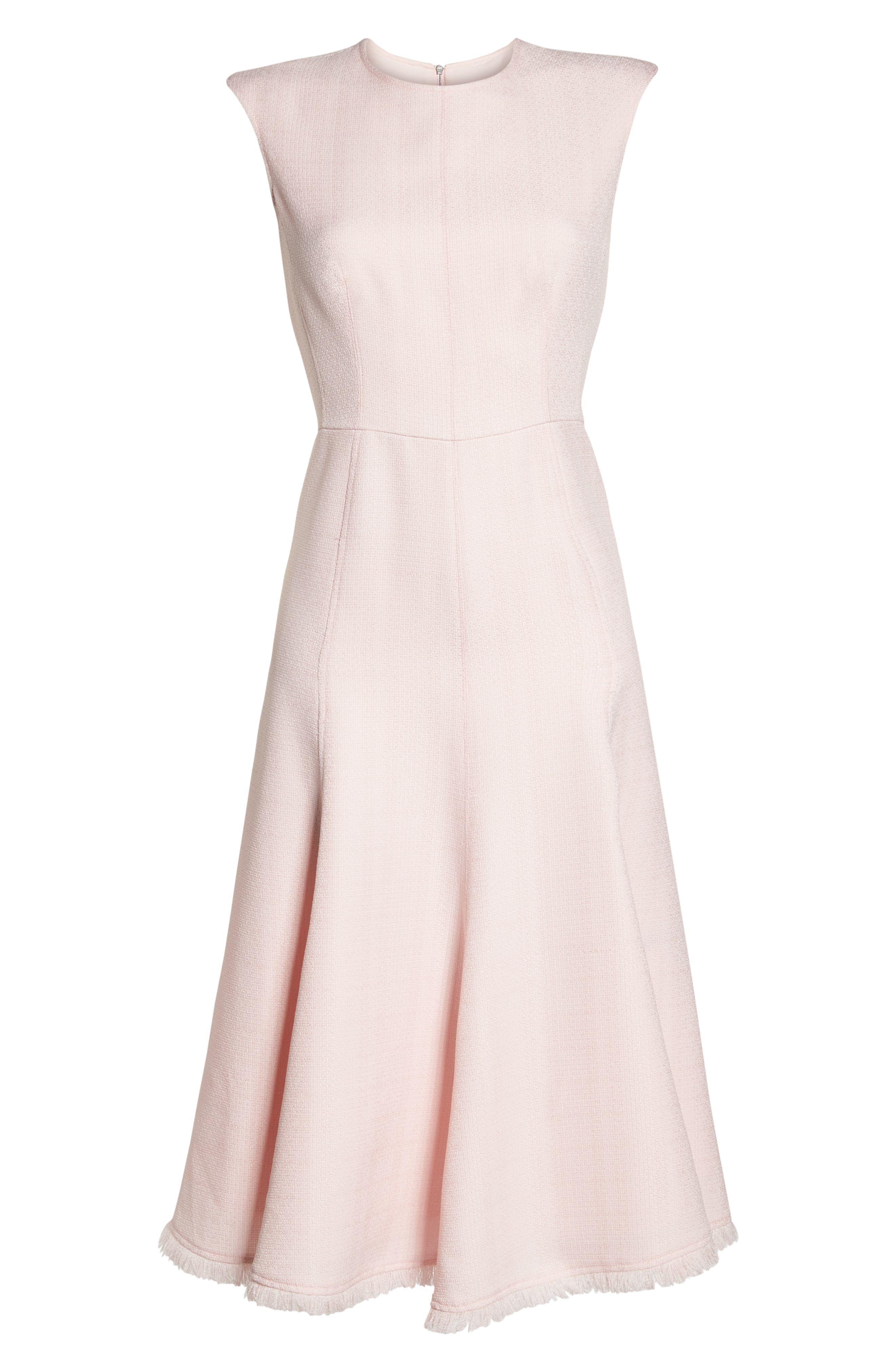 Fringe Hem A-Line Dress,                             Alternate thumbnail 7, color,                             Blush