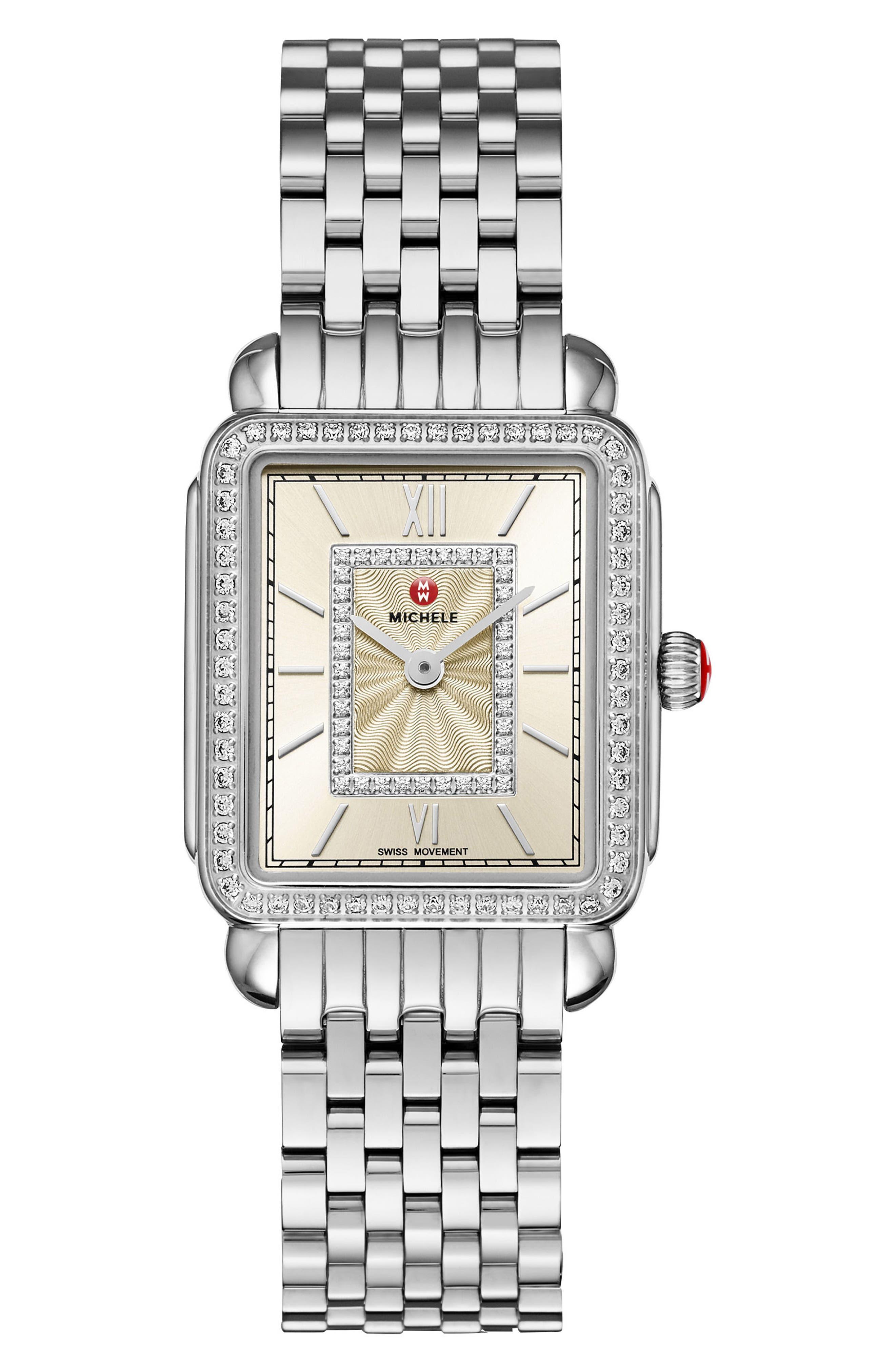 Deco II Mid Diamond Watch Head, 26mm x 27mm,                             Alternate thumbnail 3, color,                             Silver/ Champagne