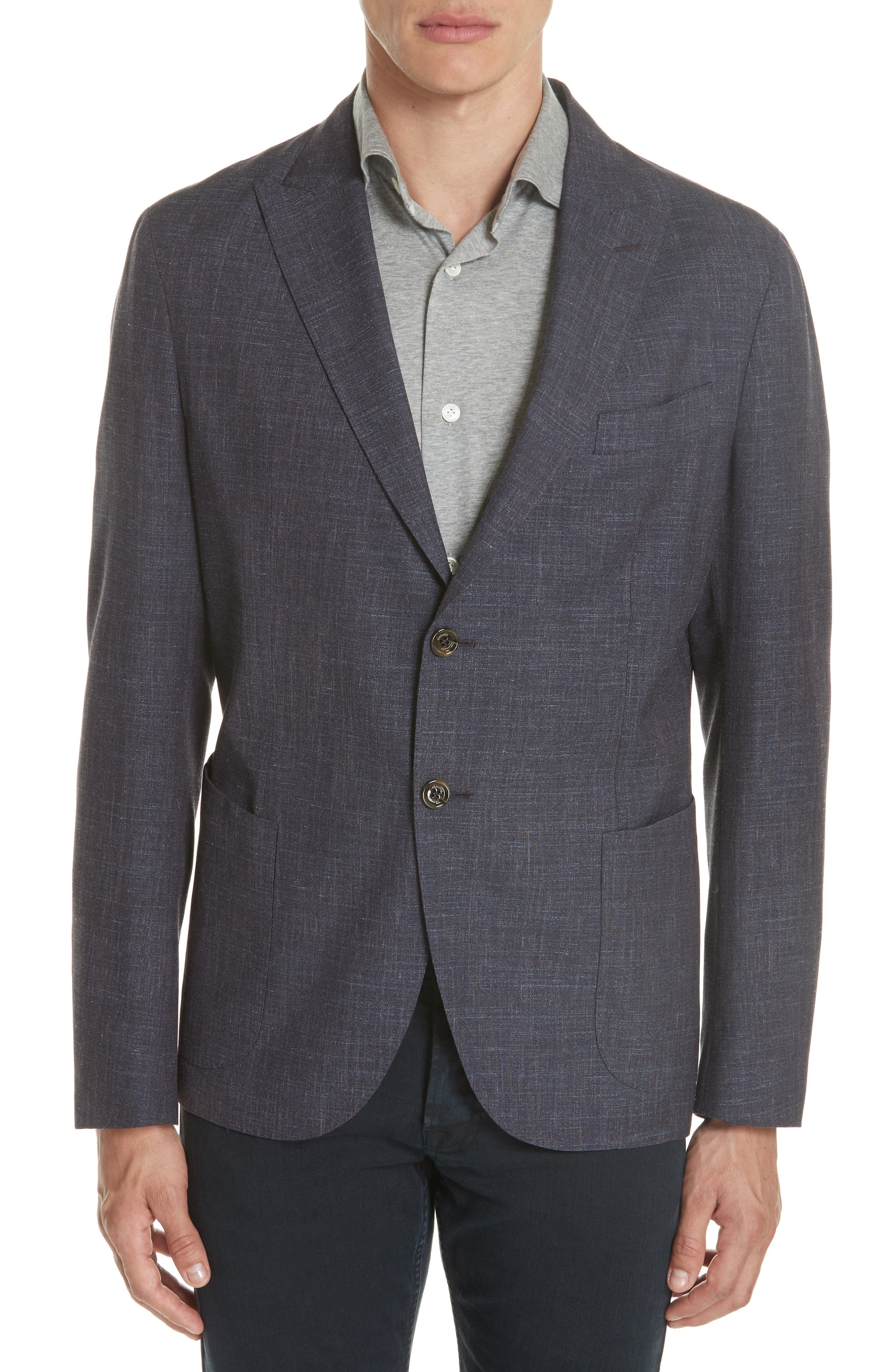 Trim Fit Wool Blend Blazer,                         Main,                         color, Ink