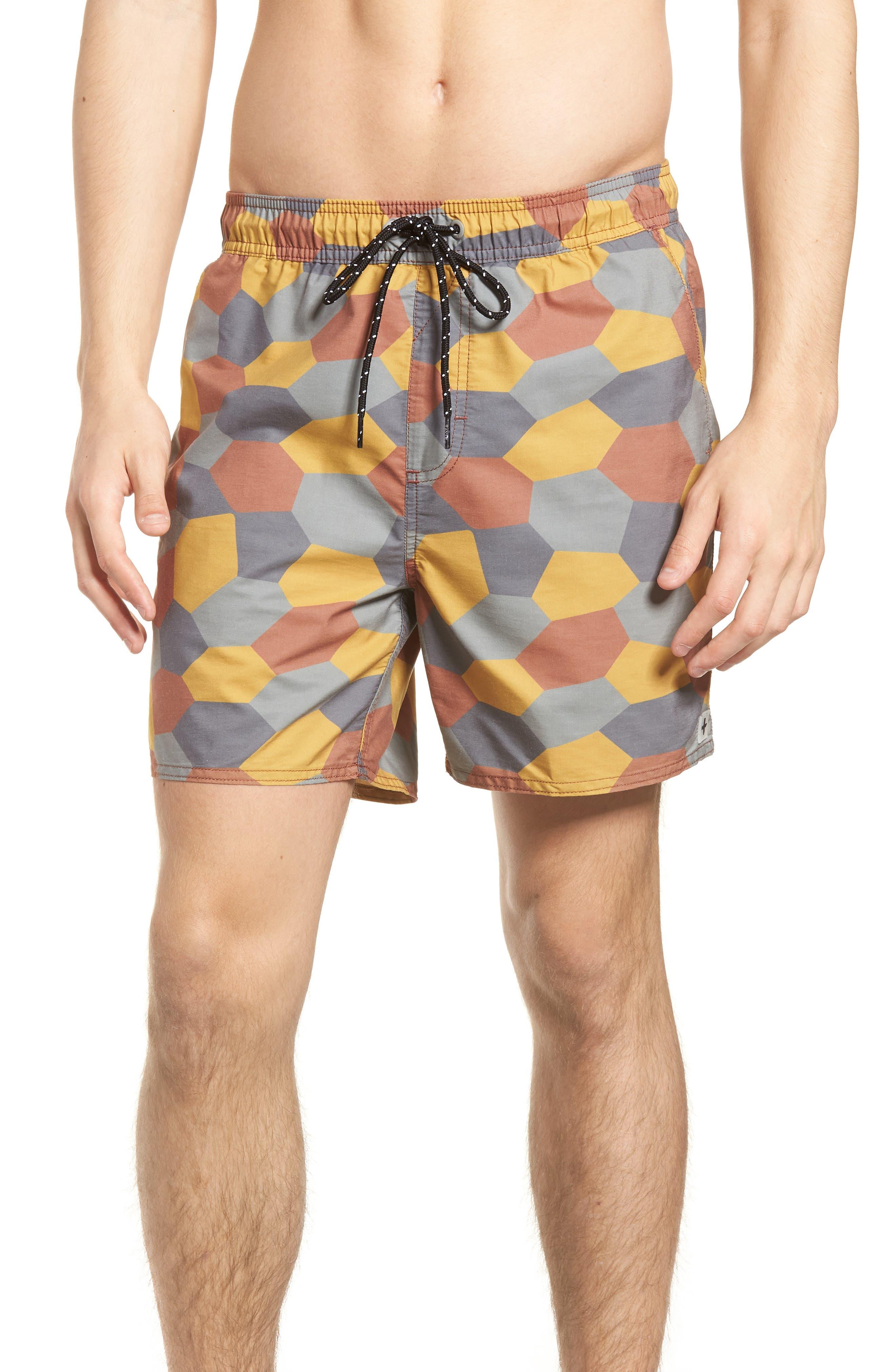 Belmont Pool Shorts,                         Main,                         color, Coastal Orange Geo Camo