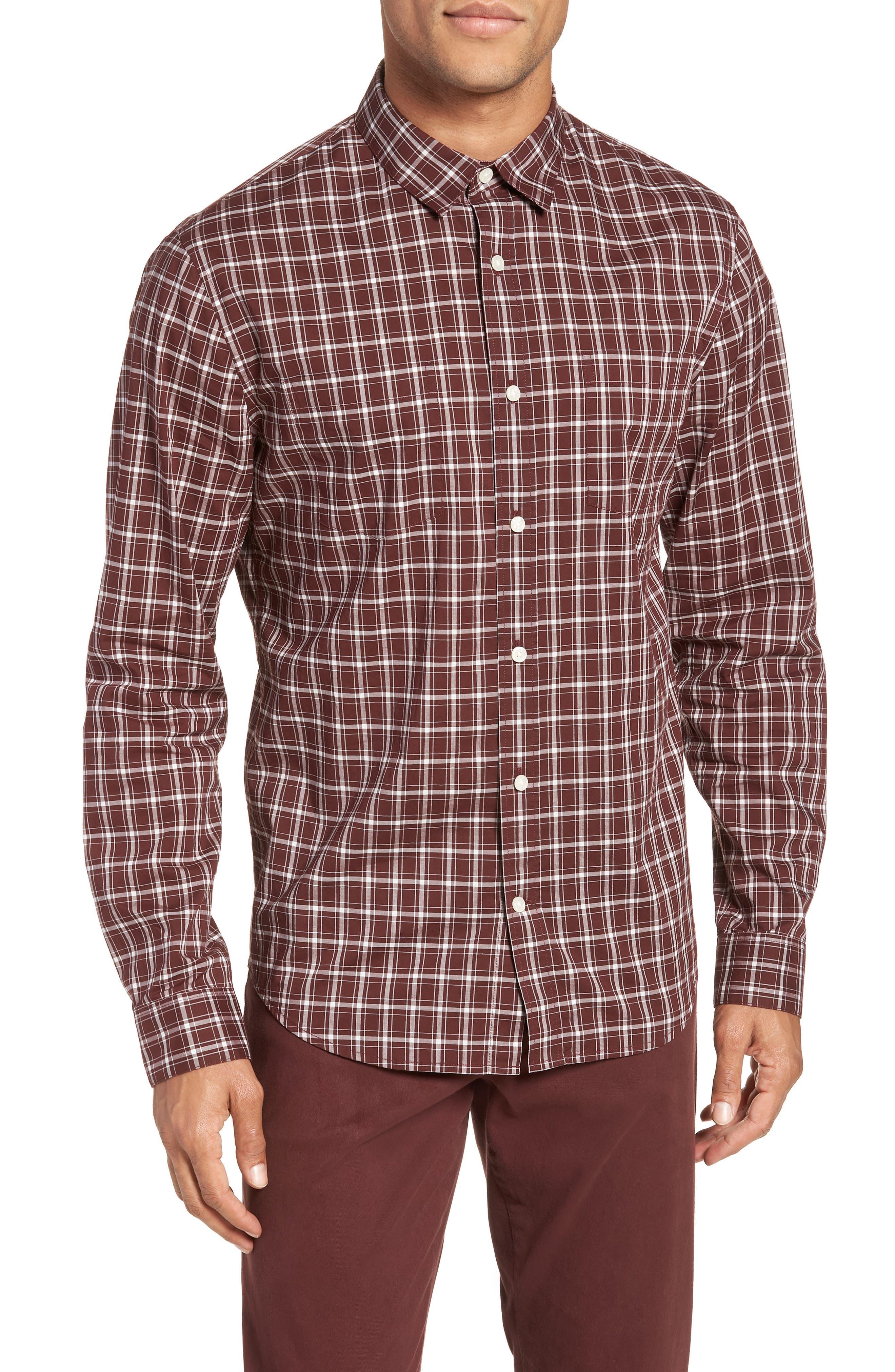 Classic Fit Plaid Sport Shirt,                         Main,                         color, Black Cherry