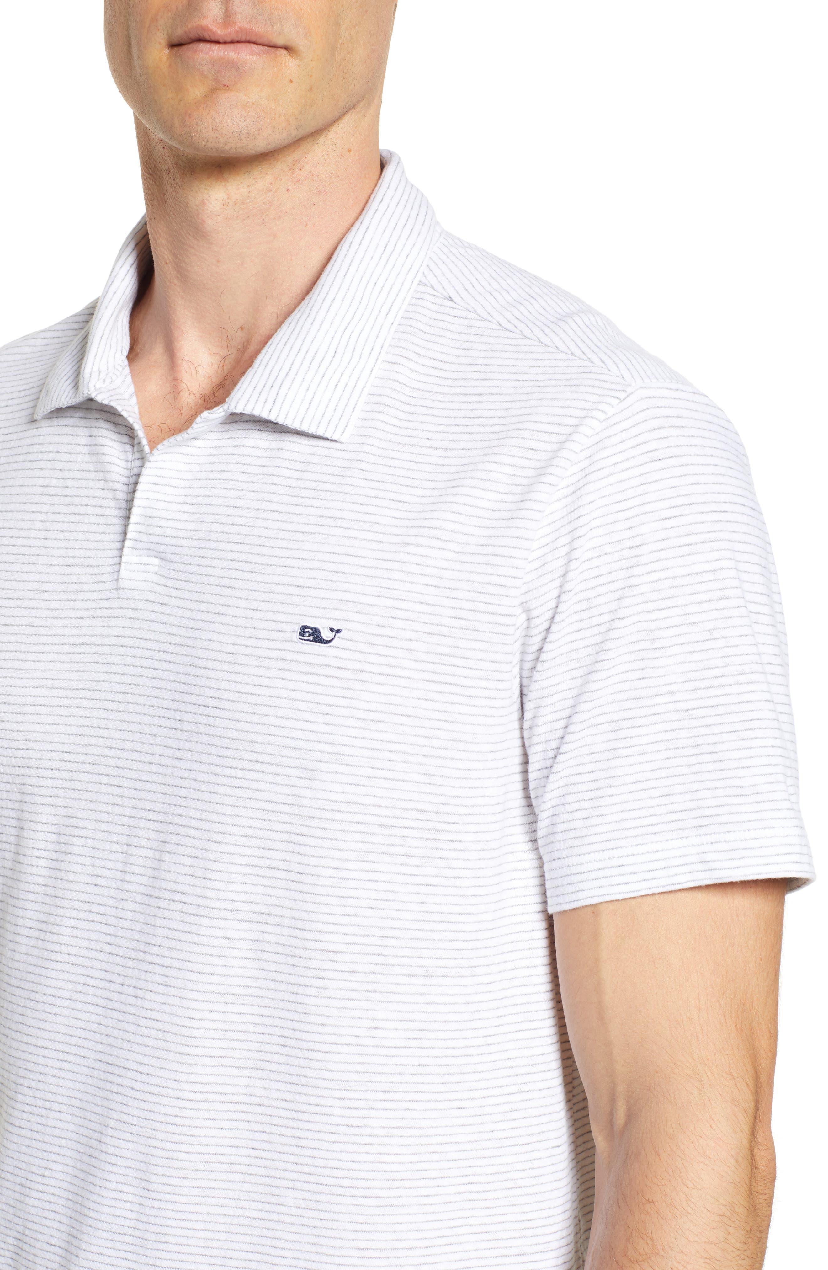 Stripe Linen & Cotton Polo,                             Alternate thumbnail 4, color,                             White Cap