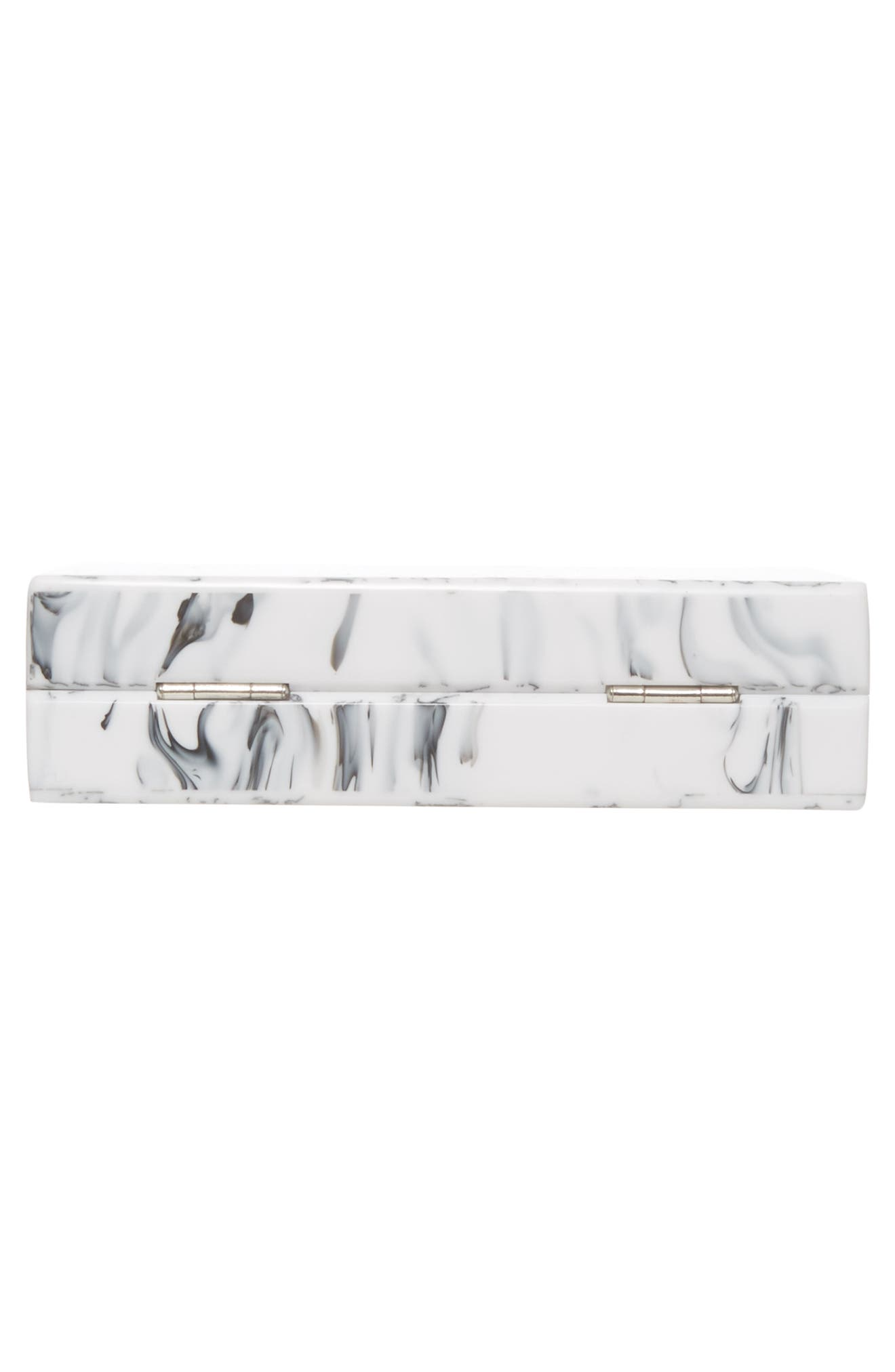 Valyn Marbled Box Clutch,                             Alternate thumbnail 6, color,                             White Marble