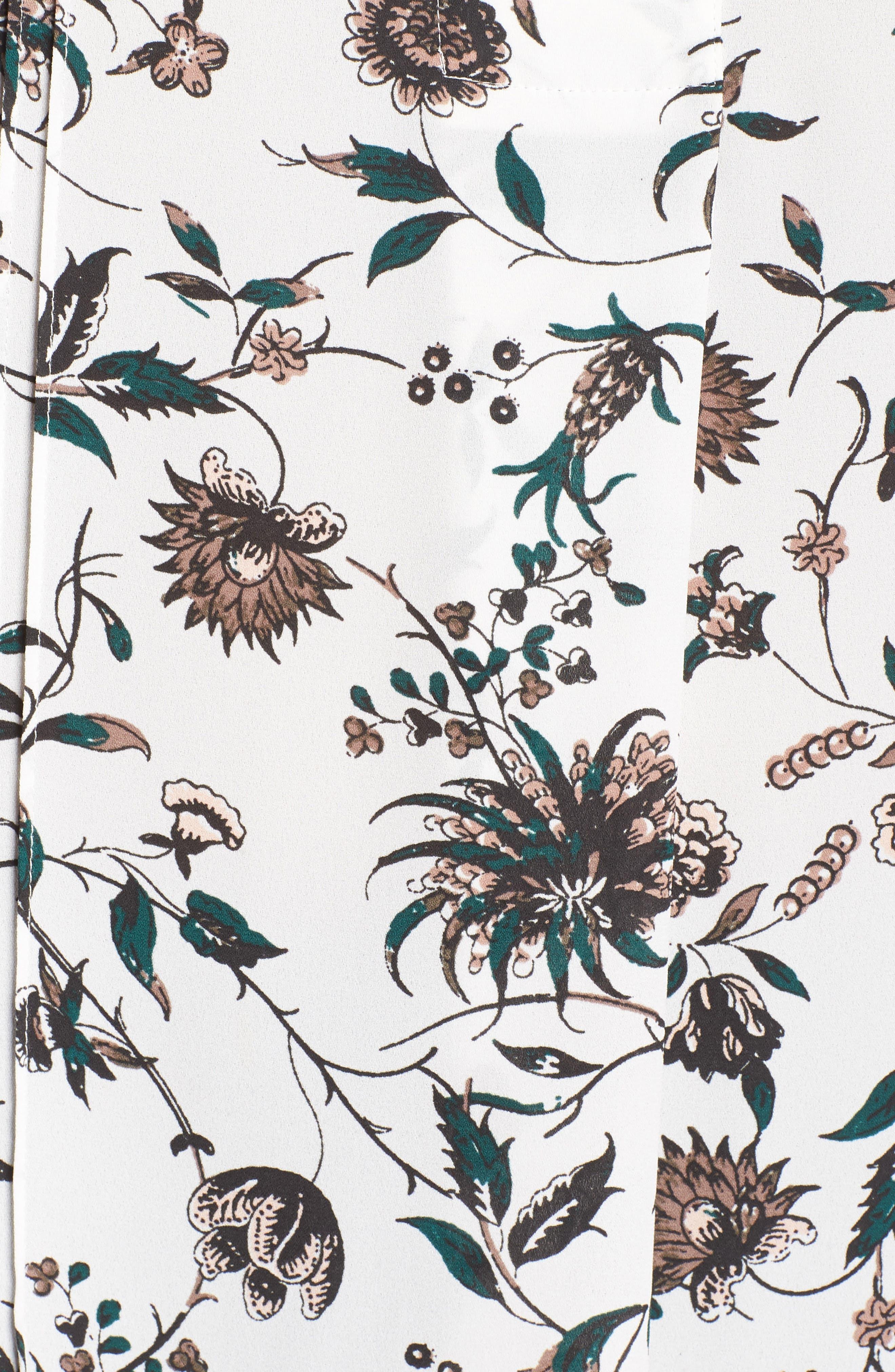 Pleat Tunic,                             Alternate thumbnail 4, color,                             Ivory- Green Wall Flora Print