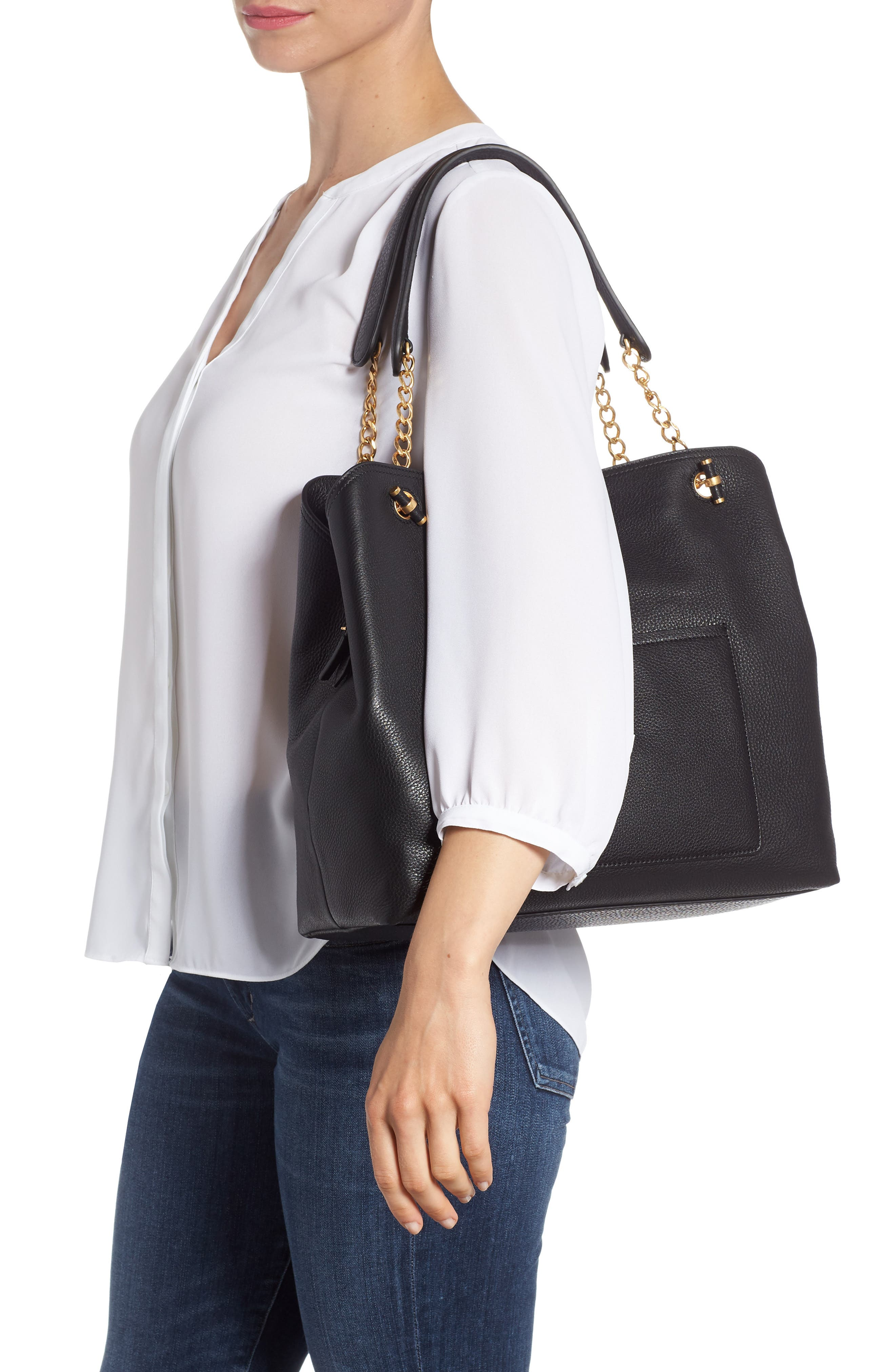 Chelsea Slouchy Leather Tote,                             Alternate thumbnail 2, color,                             Black Core