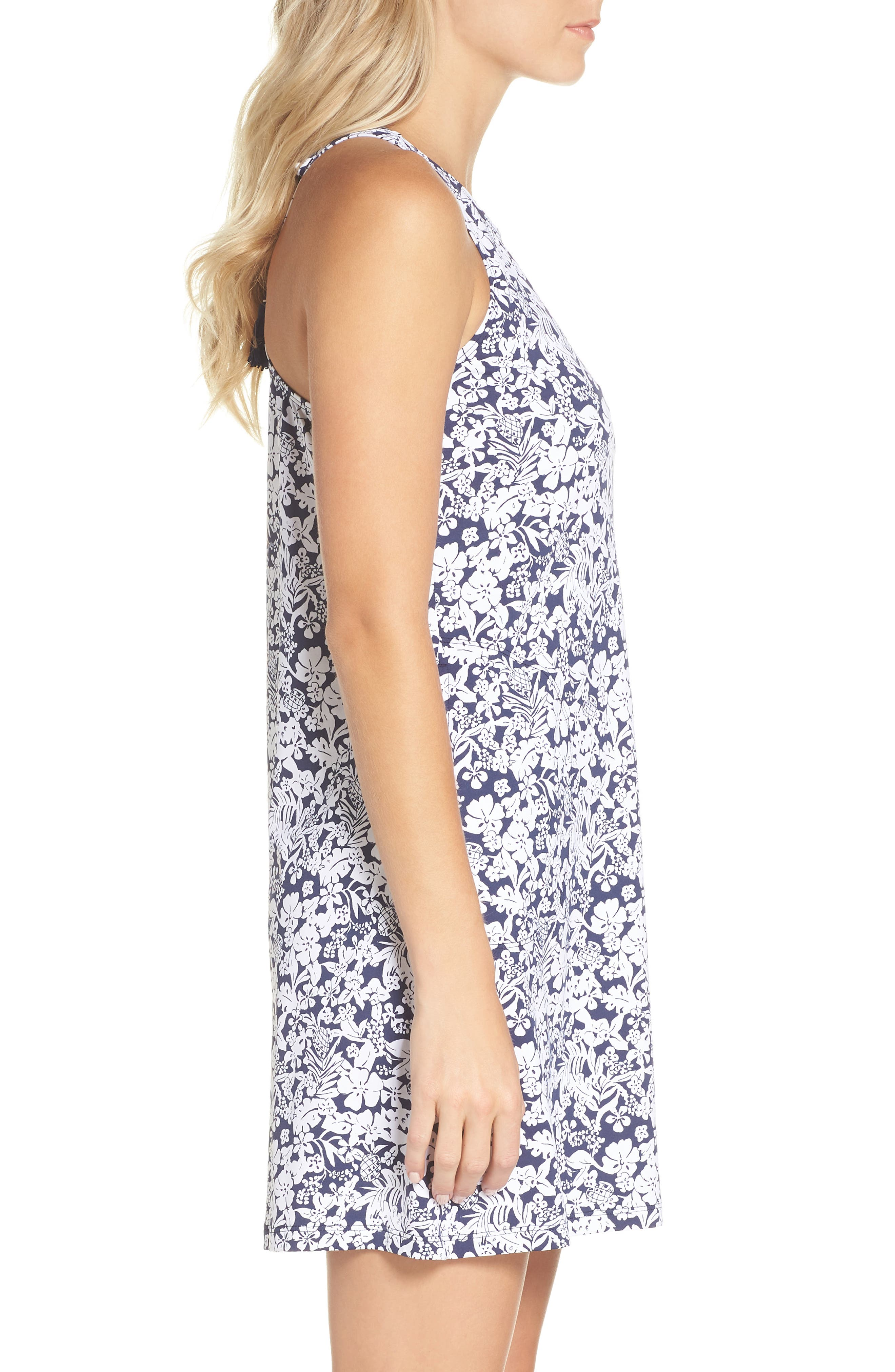 Riviera Tiles Cover-Up Dress,                             Alternate thumbnail 3, color,                             Mare Blue