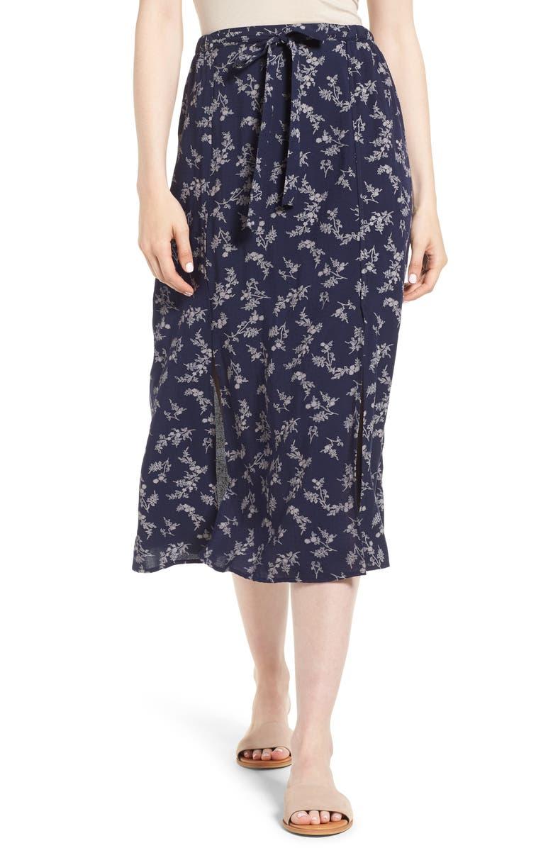 Print Tie Front Midi Skirt