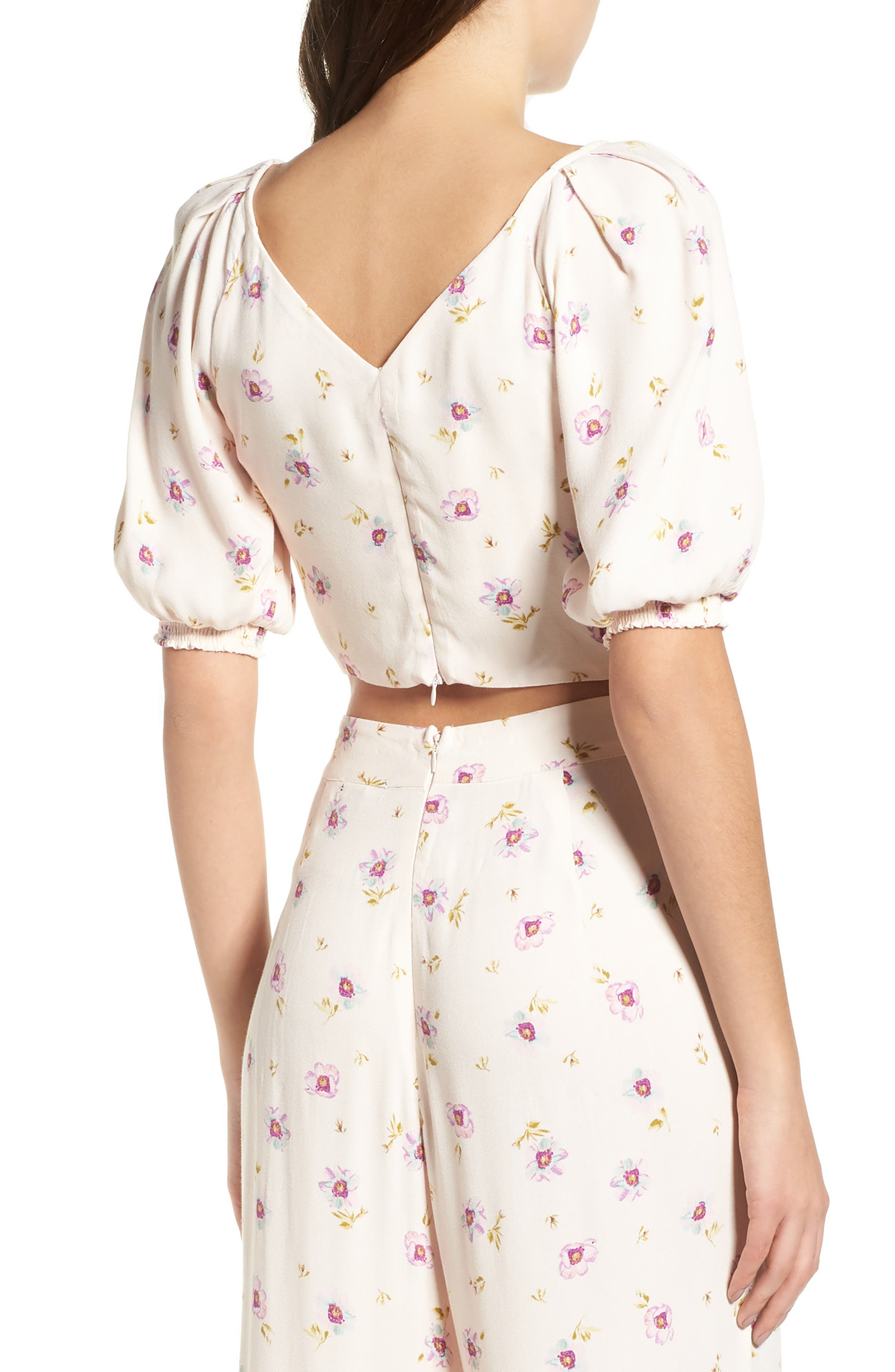 Rodeo Ruched Crop Top,                             Alternate thumbnail 3, color,                             Lilac Floral