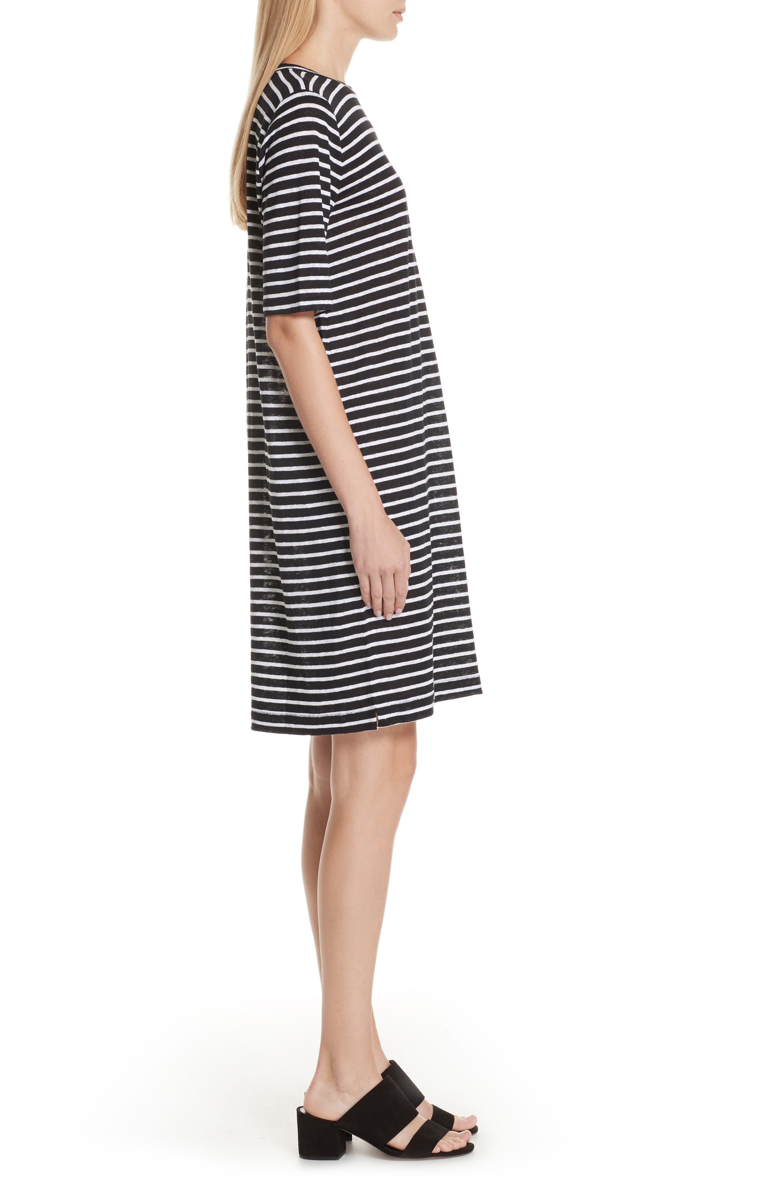 Stripe Organic Linen Knit Shift Dress,                             Alternate thumbnail 3, color,                             Black/ White