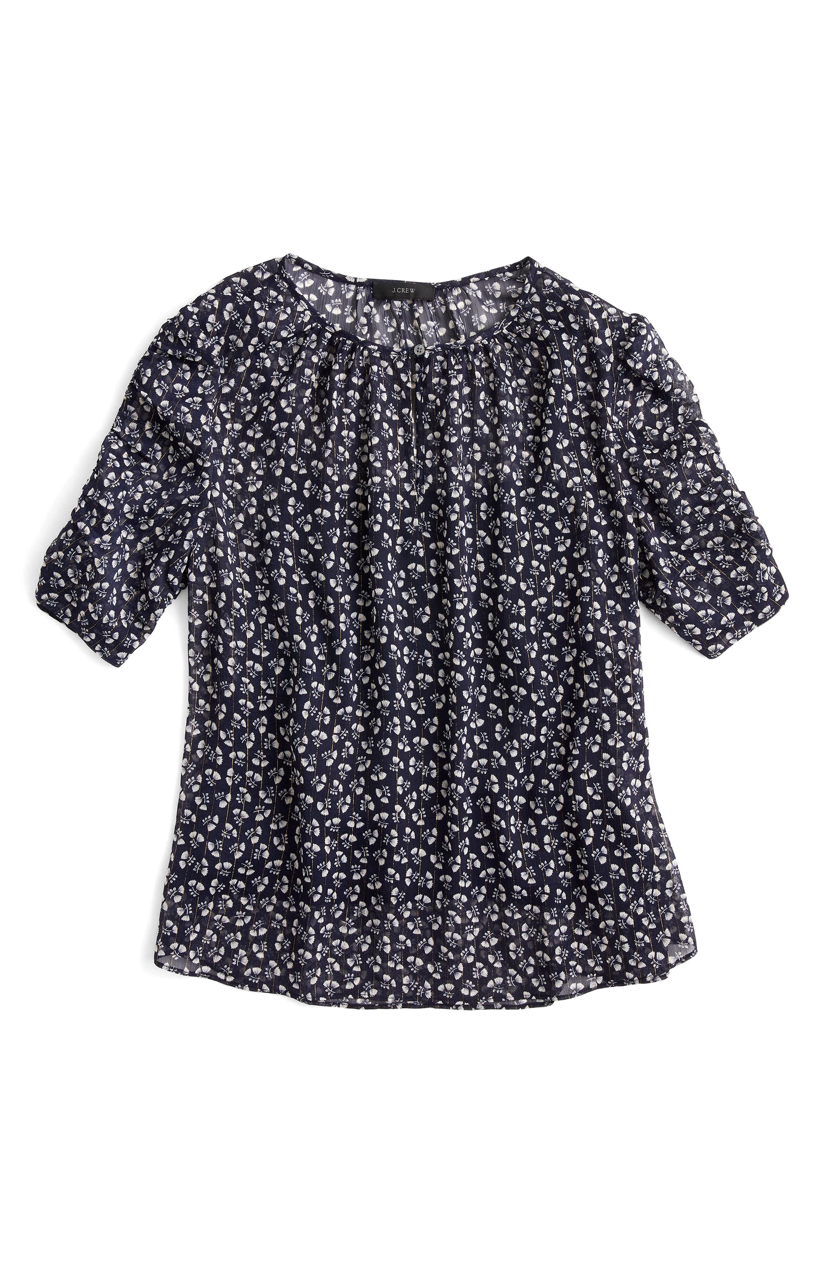 J.Crew Ruched Sleeve Sparkle Floral Top