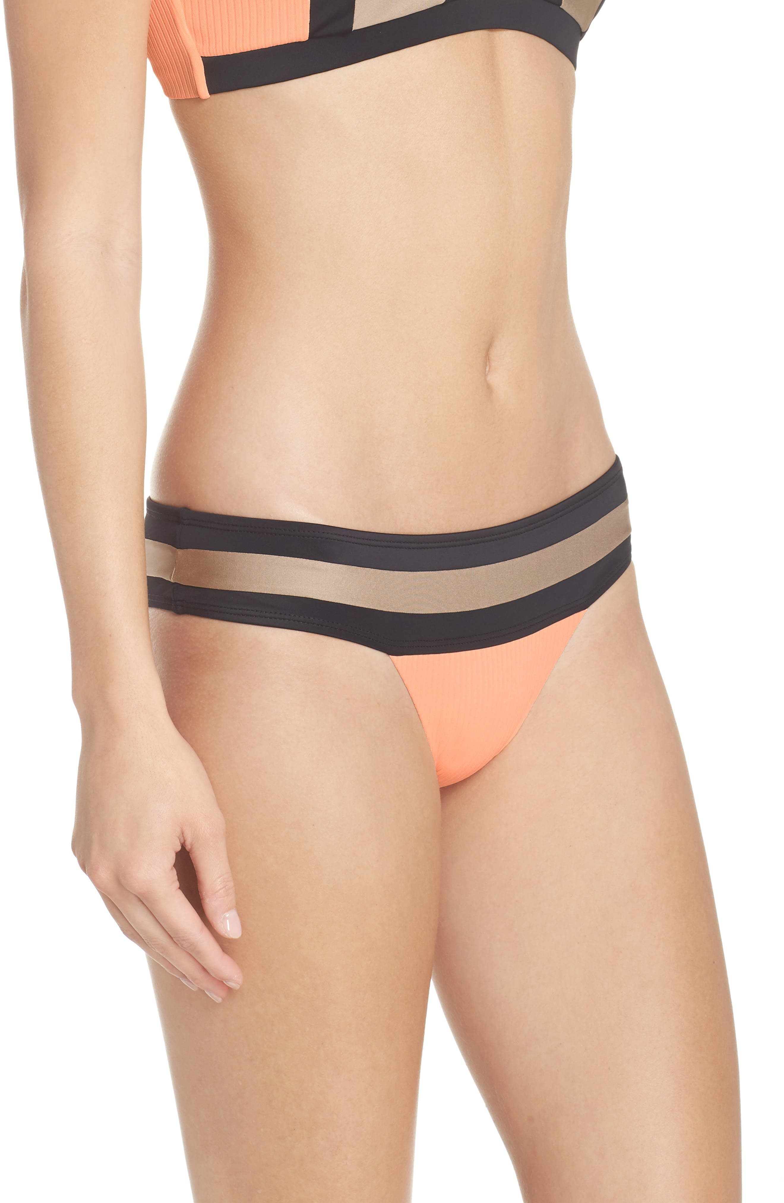 Banded Bikini Bottoms,                             Alternate thumbnail 3, color,                             Sandstone