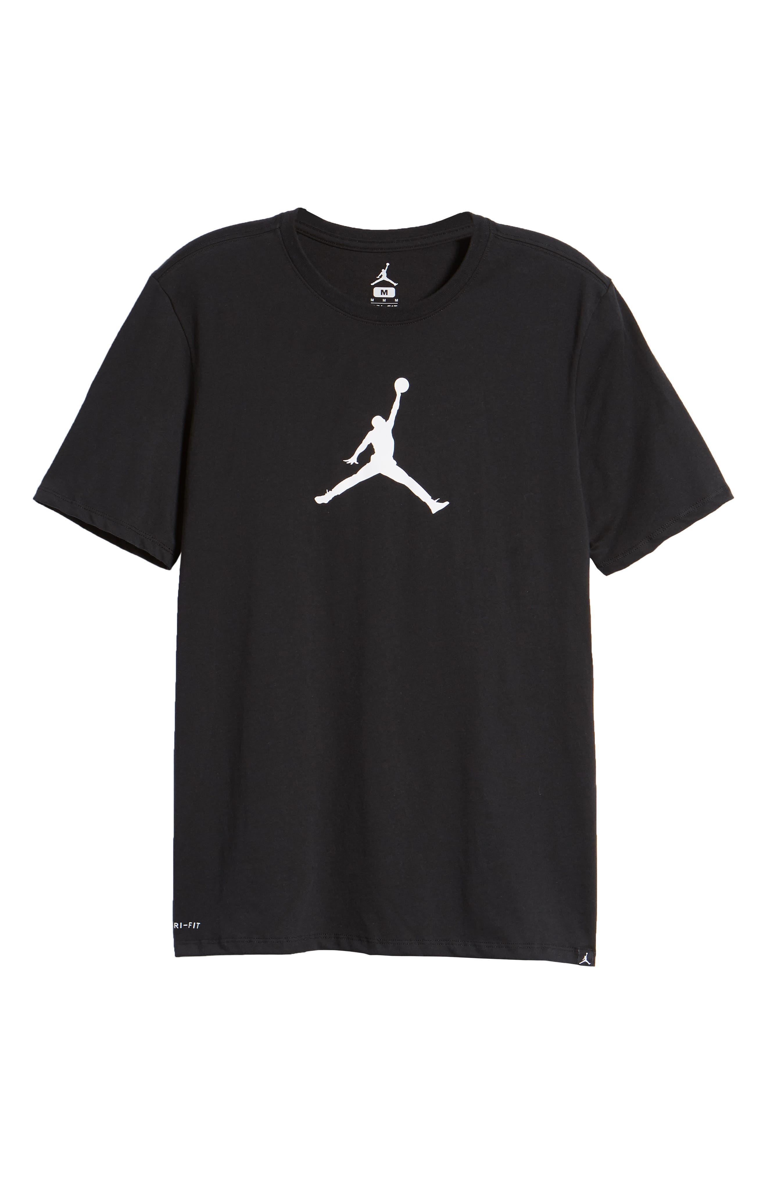 Iconic Jumpman Graphic T-Shirt,                             Alternate thumbnail 6, color,                             Black/ White