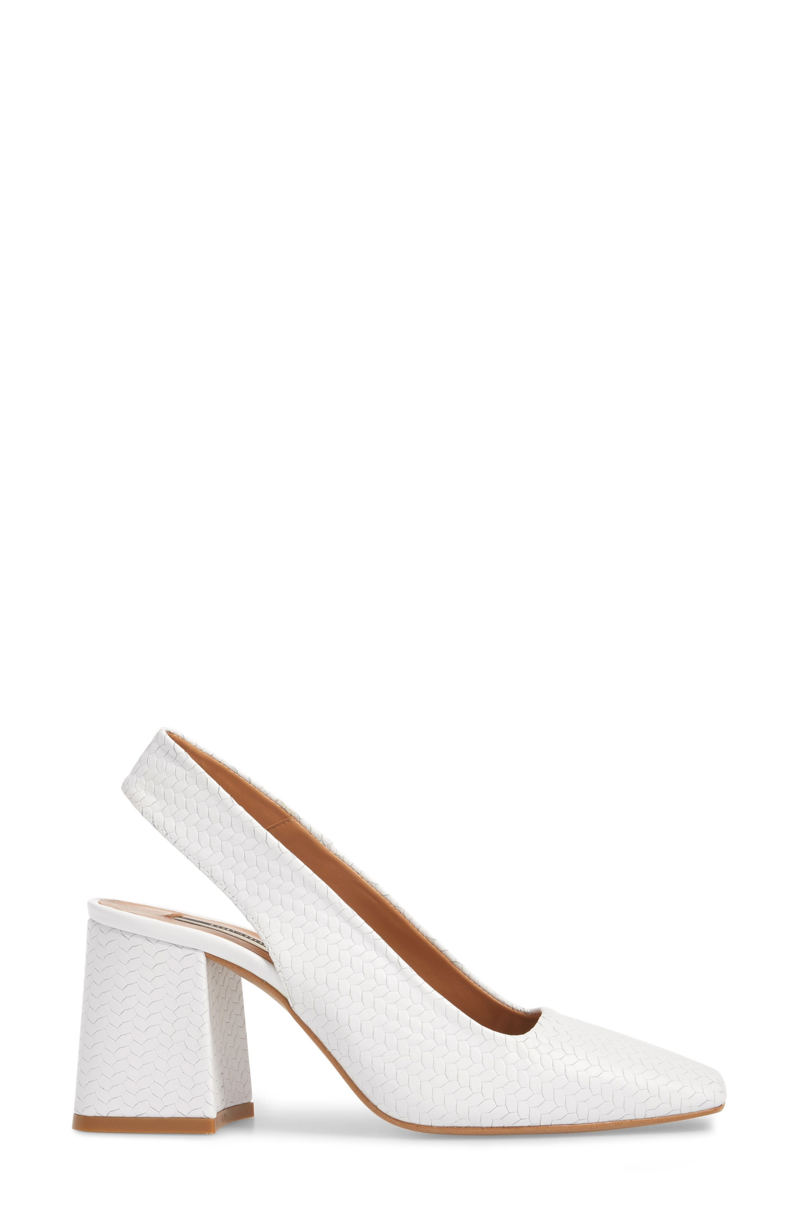 Gainor Block Heel Slingback Pump,                             Alternate thumbnail 3, color,                             White