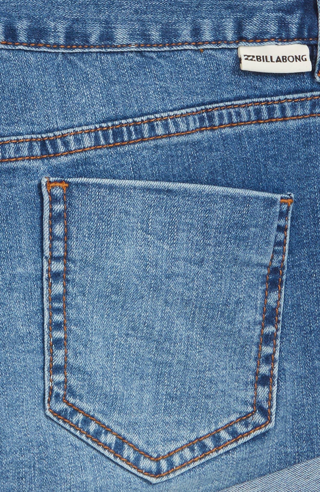 Cool Side Patch Denim Shorts,                             Alternate thumbnail 3, color,                             Beach Blue
