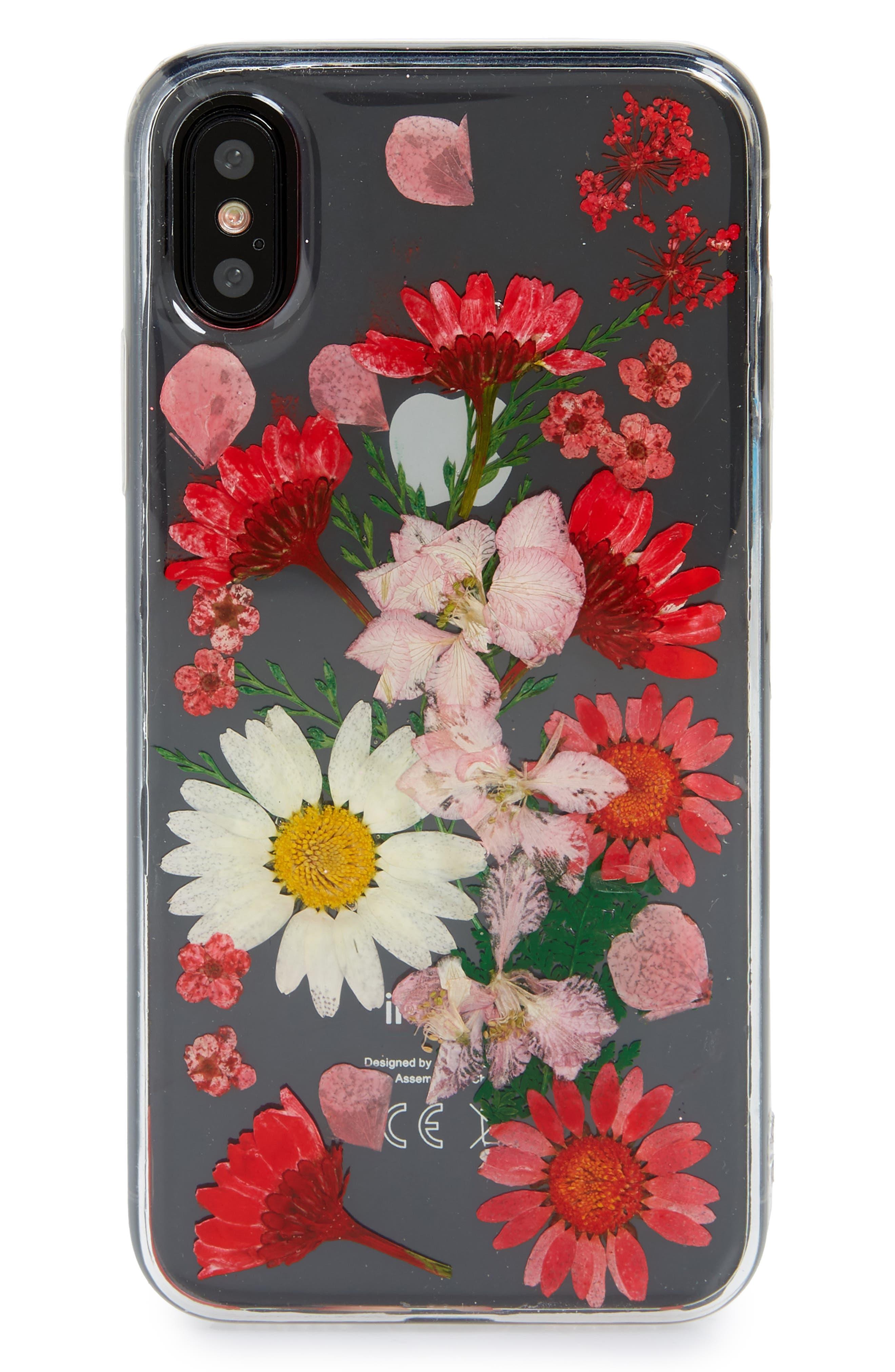 Floral iPhone X Case,                             Main thumbnail 1, color,                             Clear Multi