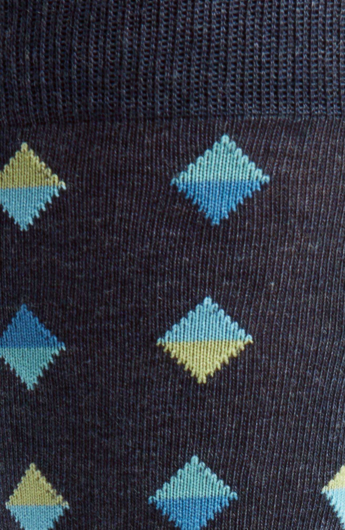 Spliced Diamonds Socks,                             Alternate thumbnail 2, color,                             Navy/ Chartreuse
