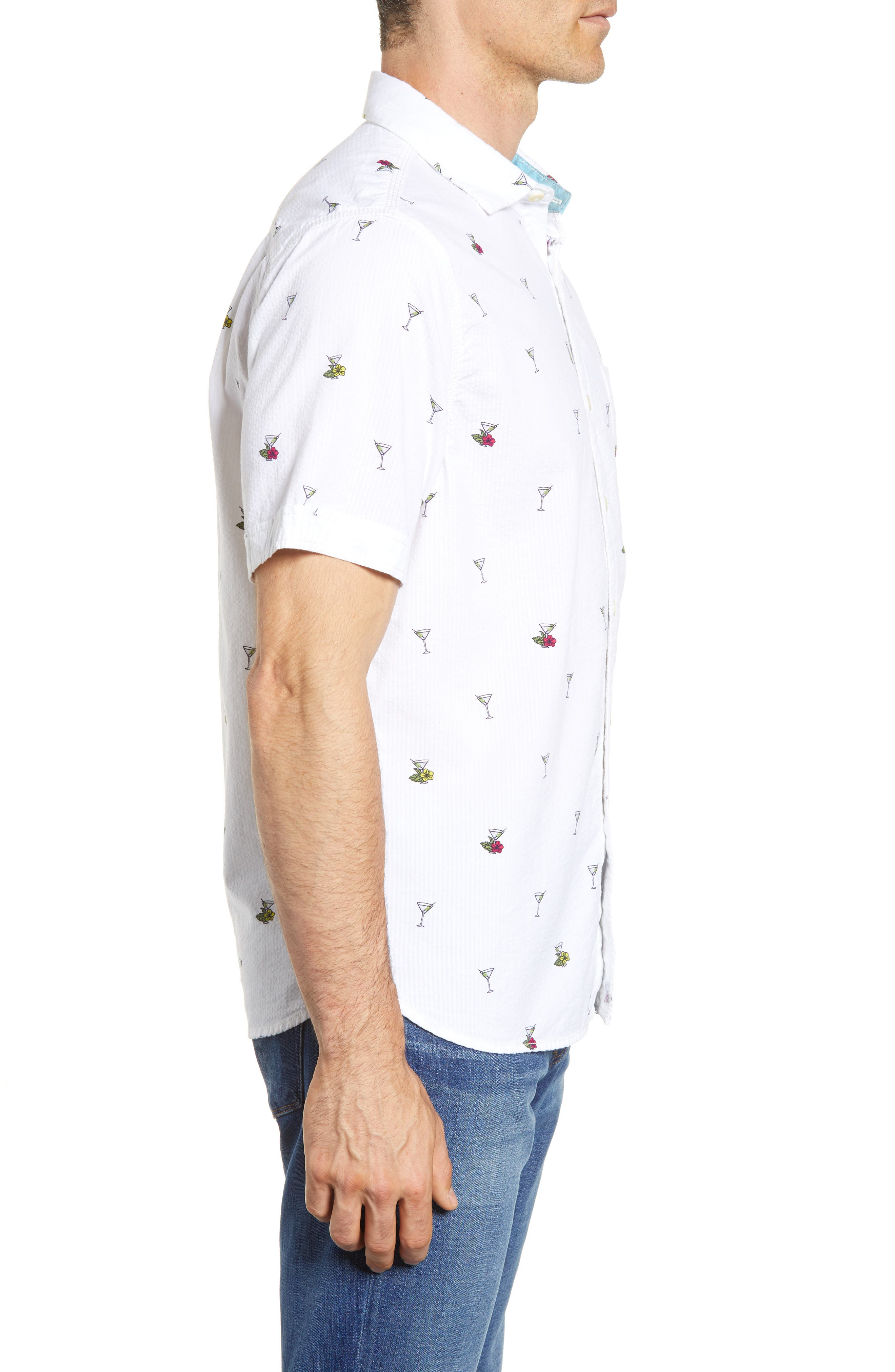 Mix Master Seersucker Shirt,                             Alternate thumbnail 4, color,                             Continental