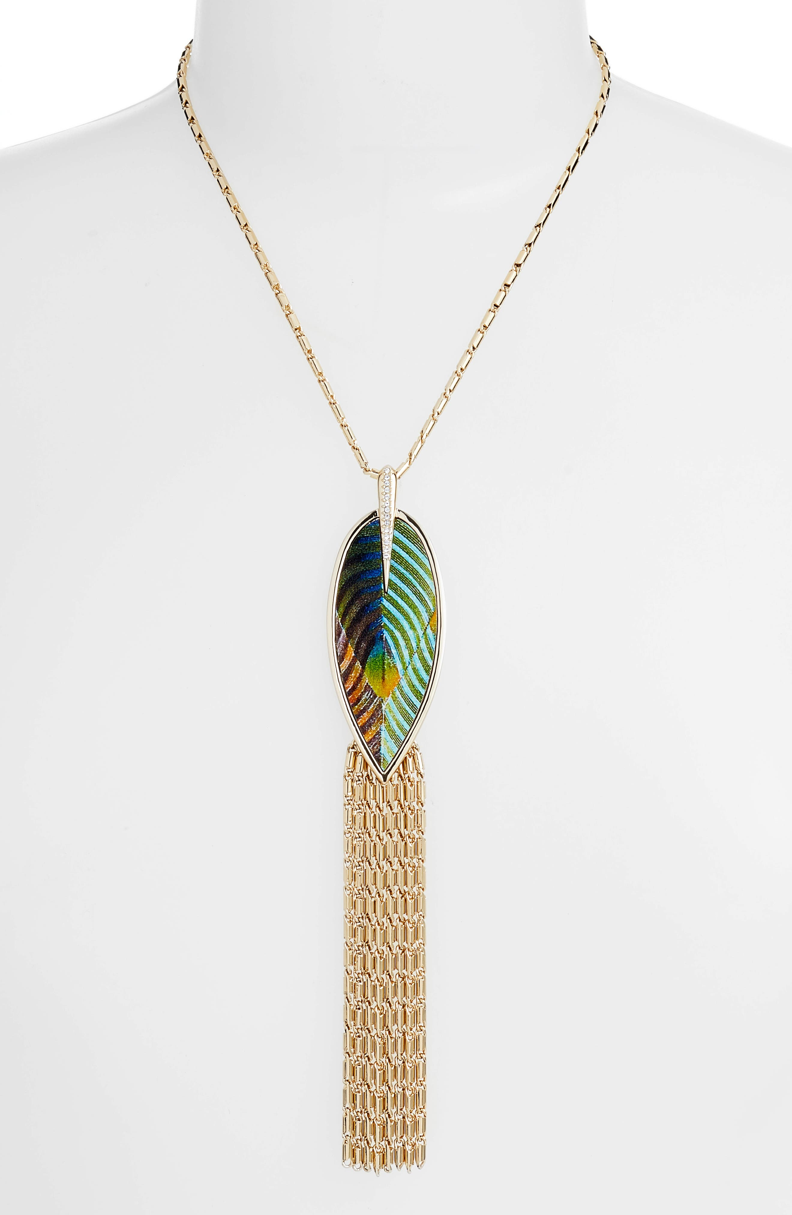 Dramatic Fringe Pendant Necklace,                         Main,                         color, Gold