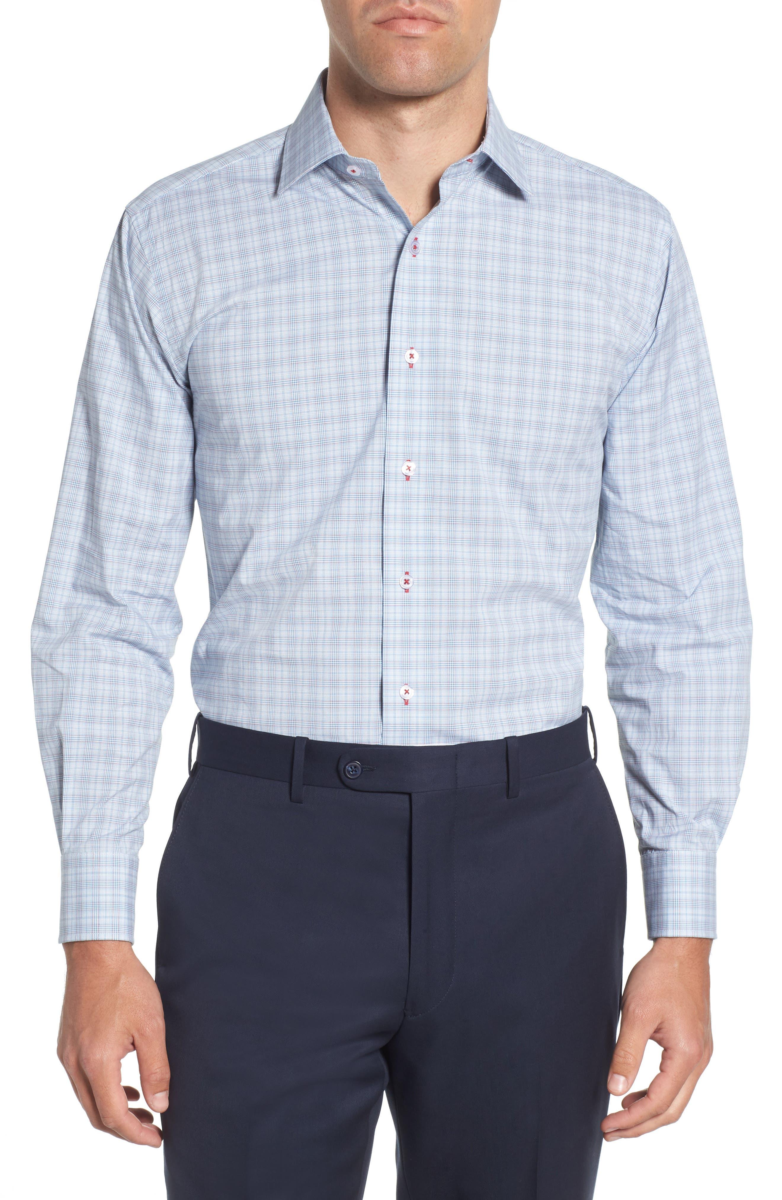 Trim Fit Plaid Dress Shirt,                             Main thumbnail 1, color,                             Blue/ Red