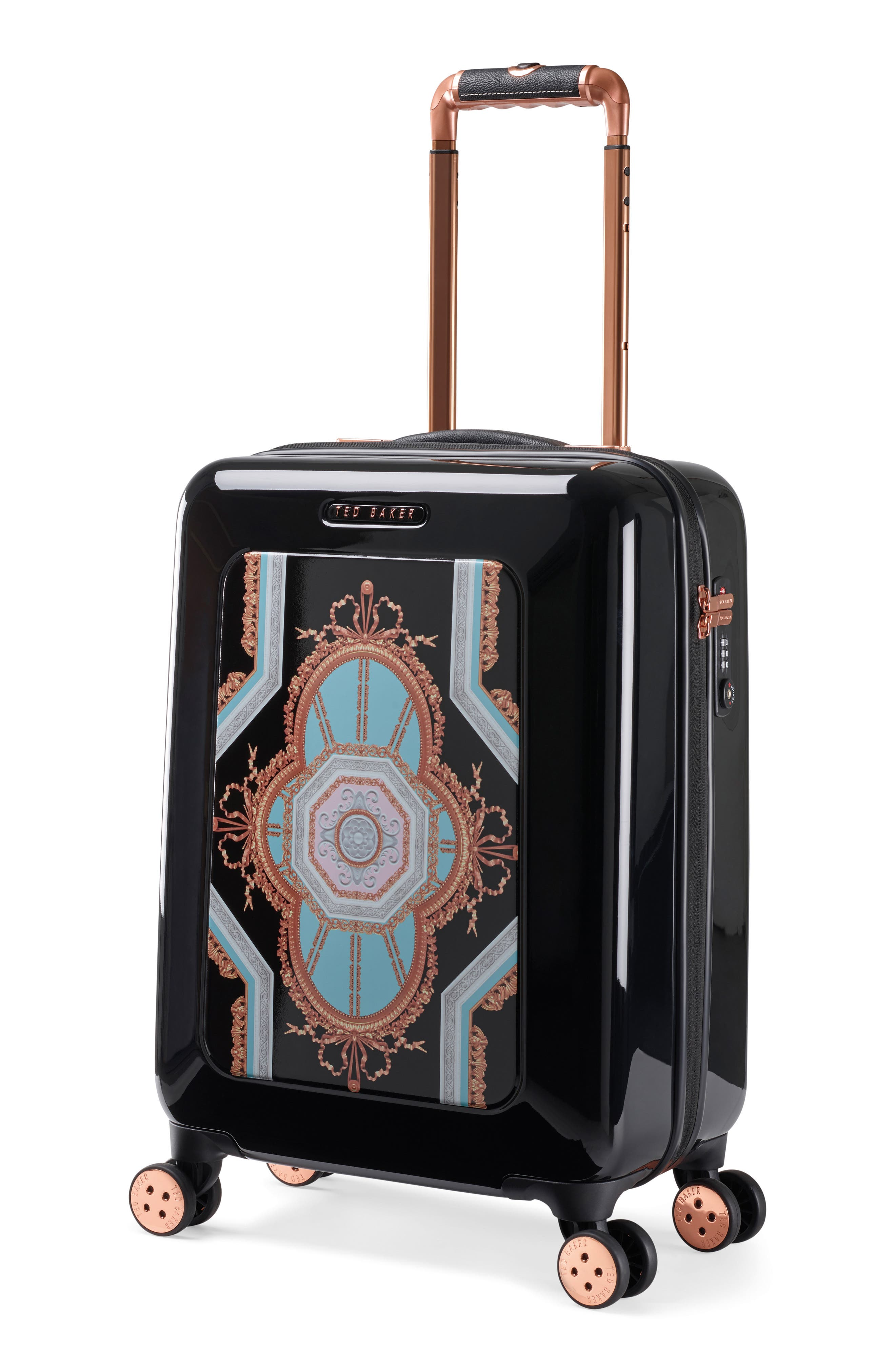 Small Versailles 21-Inch Spinner Carry-On,                             Alternate thumbnail 3, color,                             Black