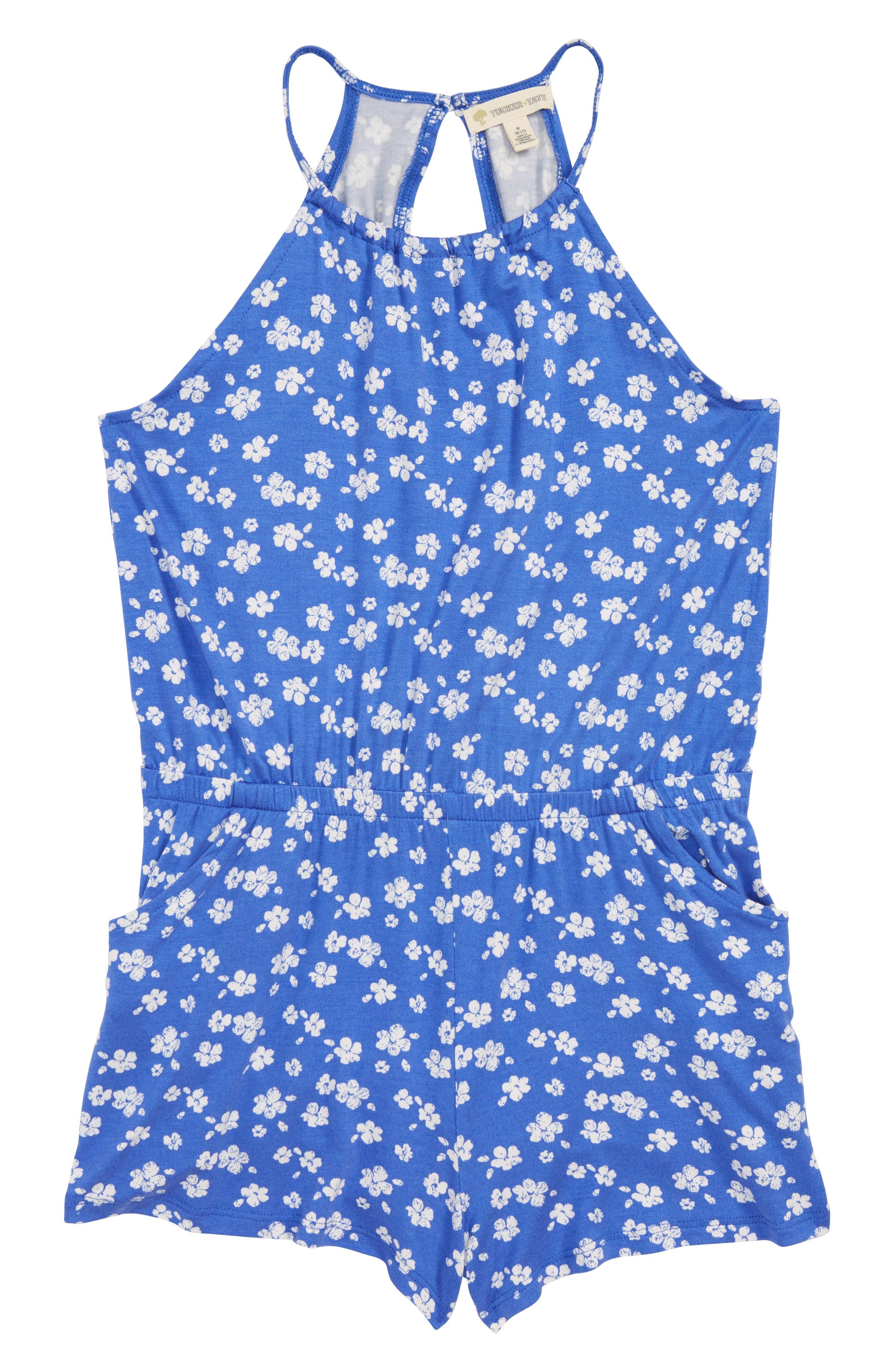 Print Romper,                         Main,                         color, Blue Amparo Adrianna Floral