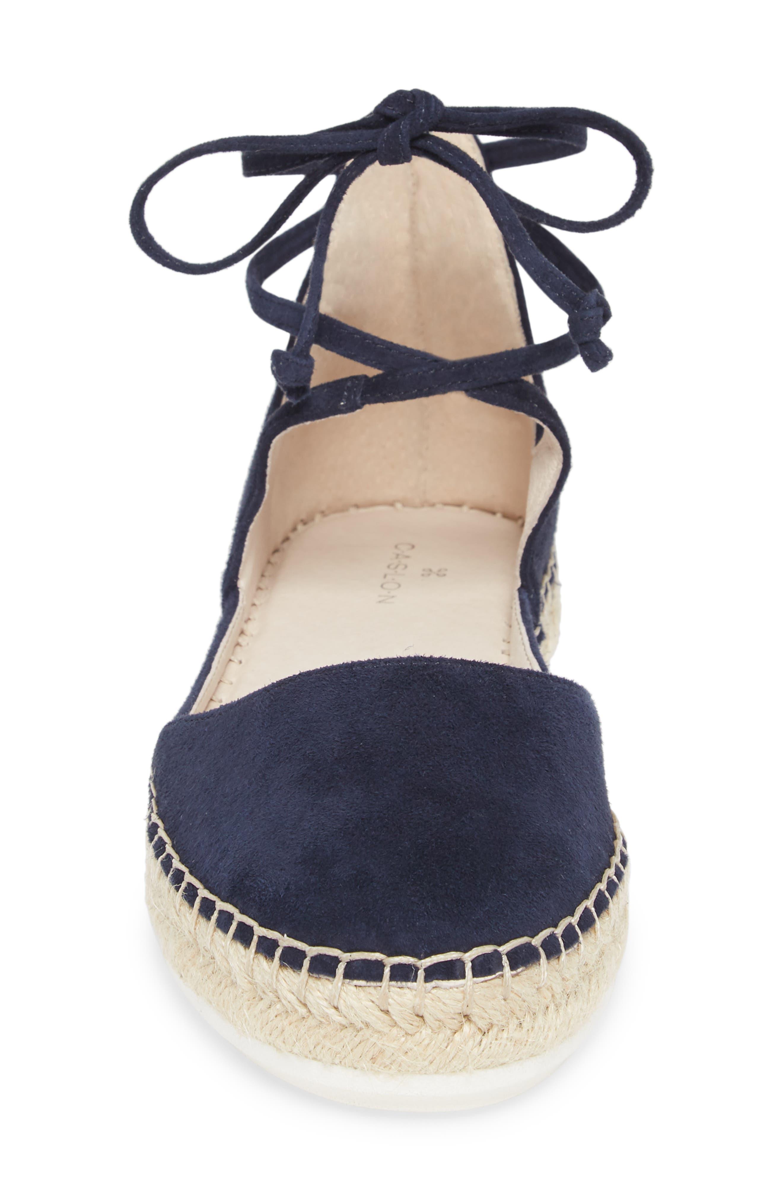 Leena Ankle Strap Sandal,                             Alternate thumbnail 4, color,                             Navy Suede