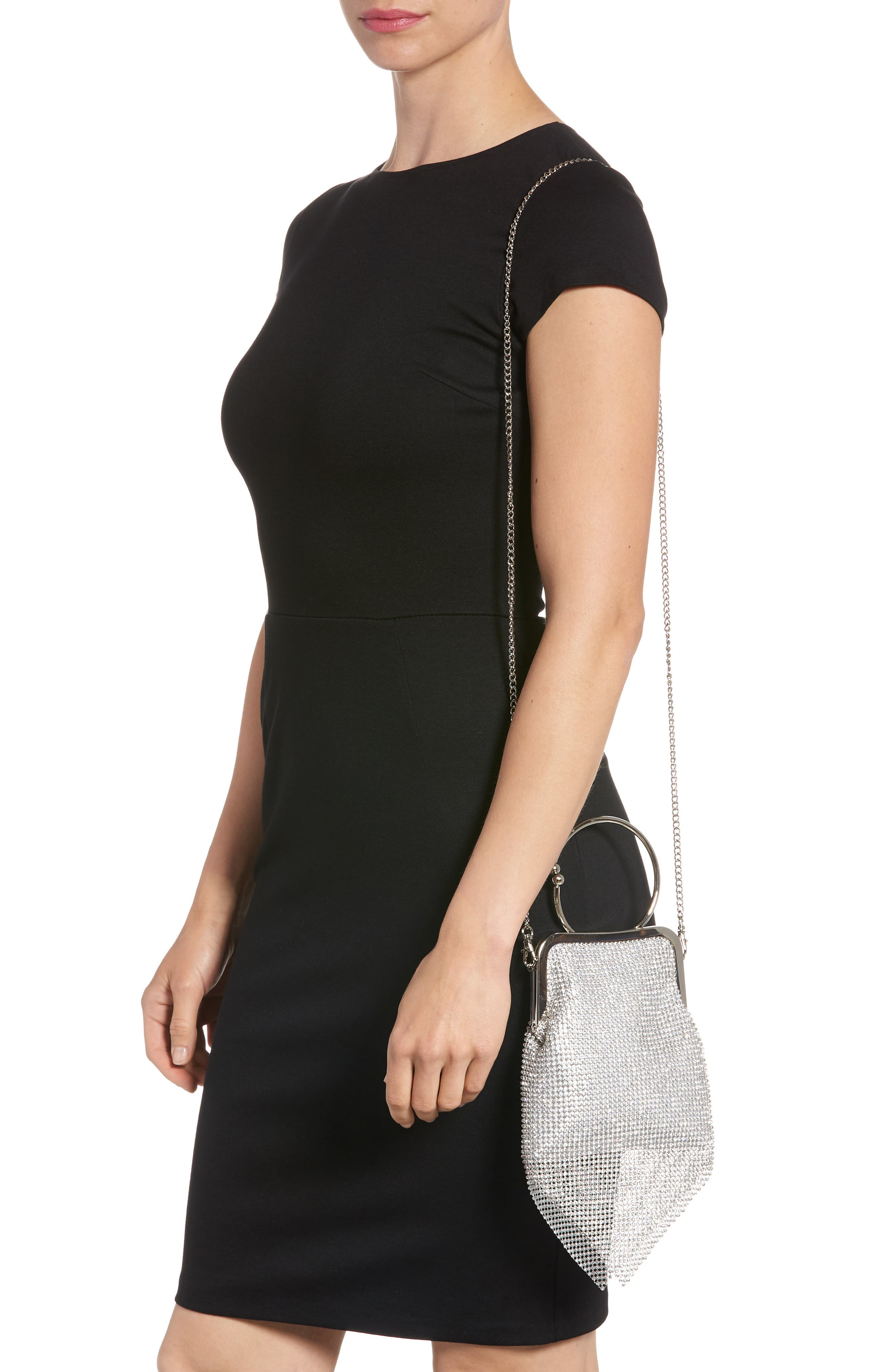 Ring Mesh Clutch,                             Alternate thumbnail 2, color,                             Silver