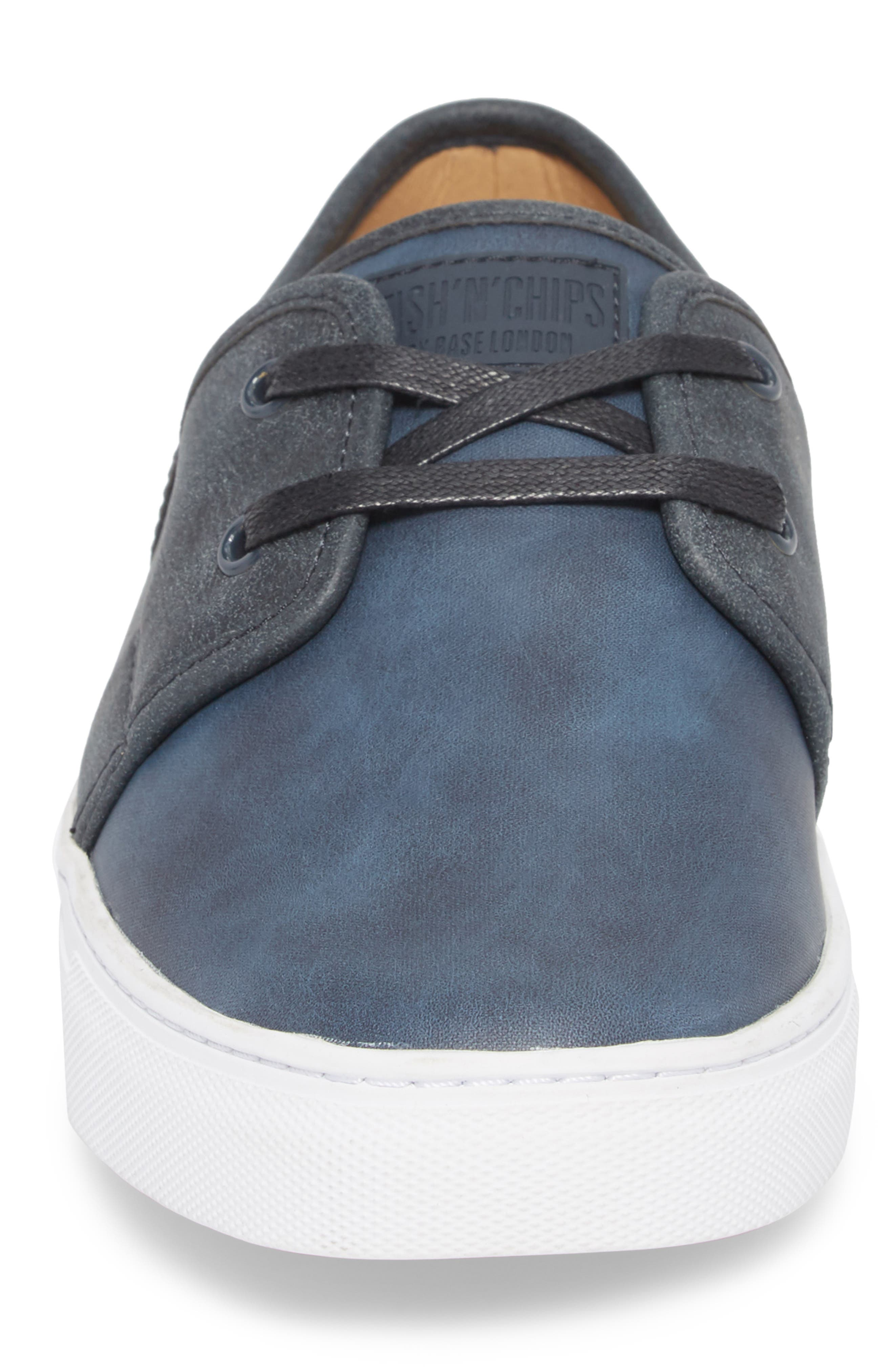 Toronto Low Top Sneaker,                             Alternate thumbnail 4, color,                             Navy Faux Suede