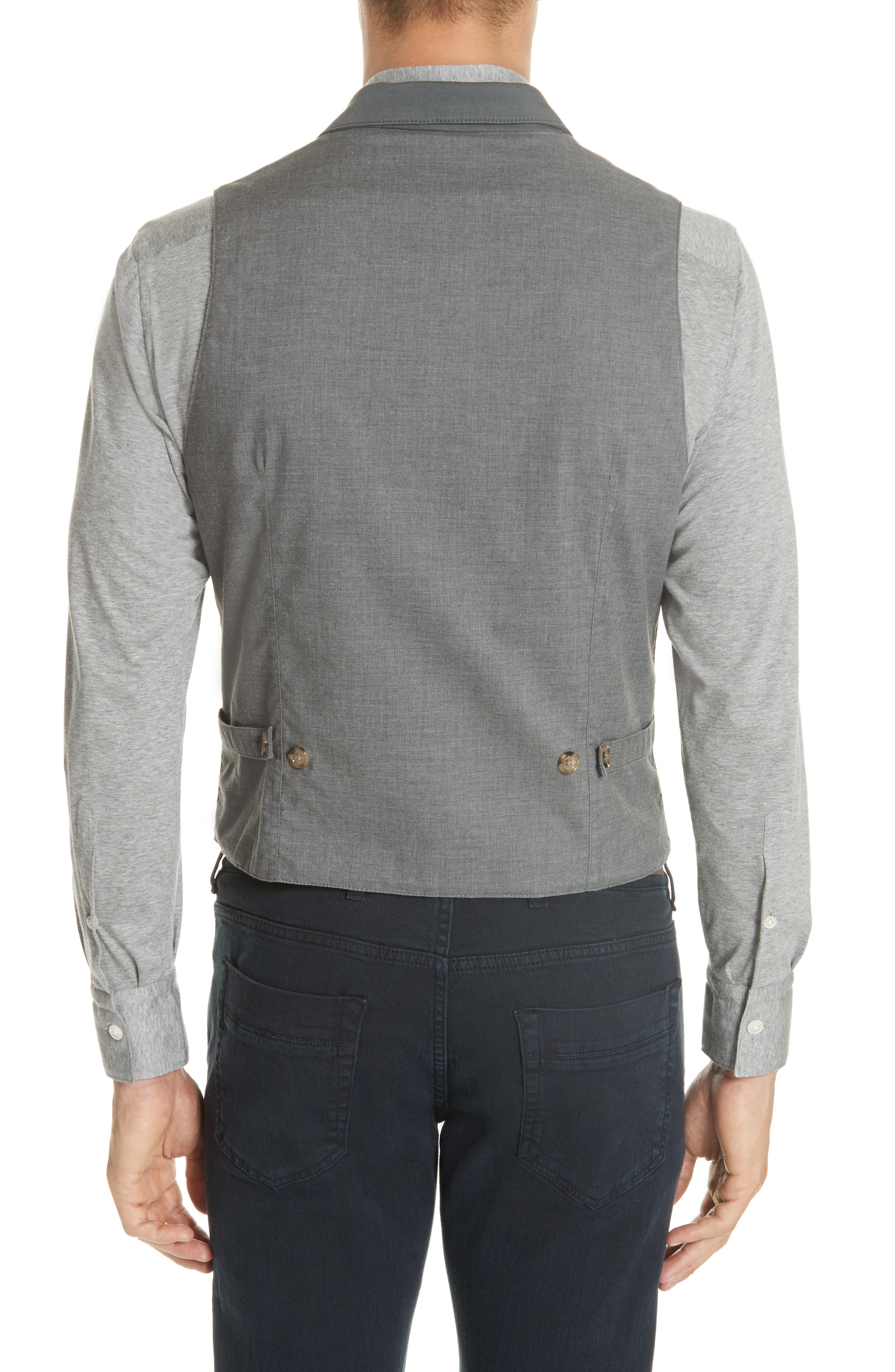 Slim Fit Stretch Cotton Twill Vest,                             Alternate thumbnail 2, color,                             Dark Grey