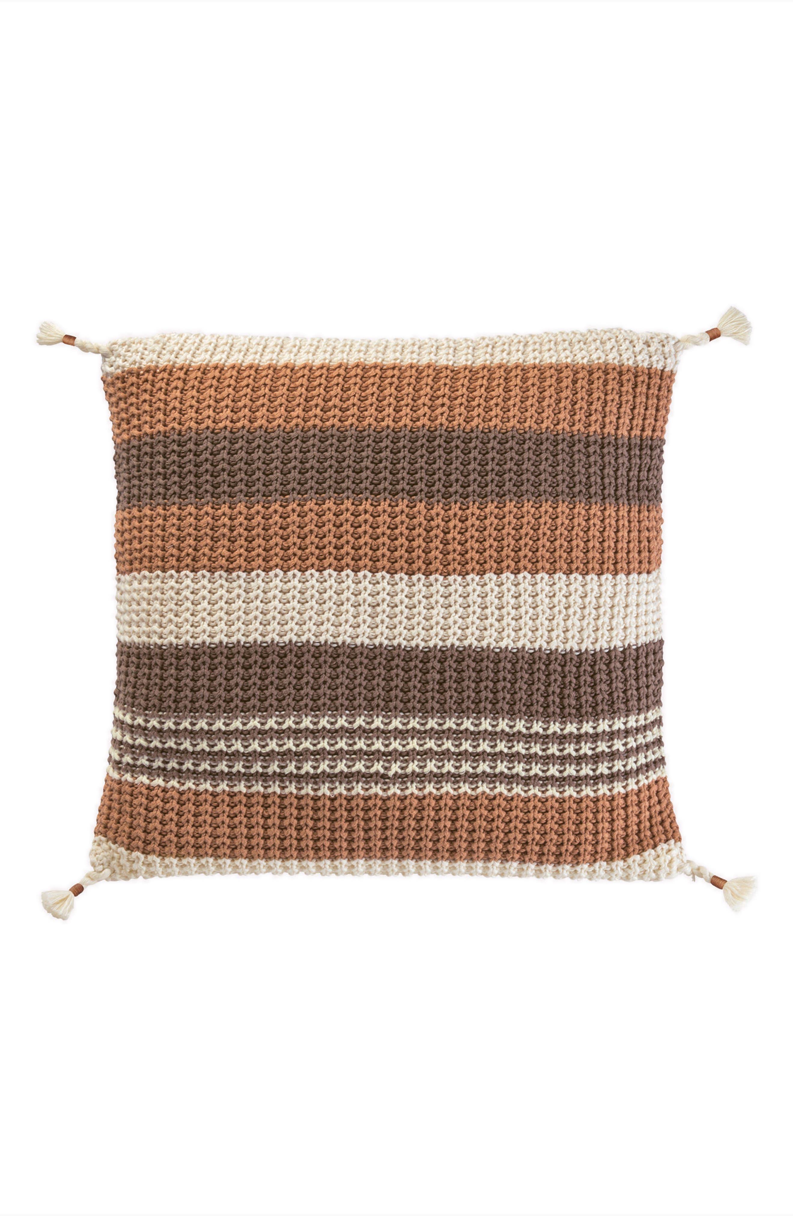 Horizon Stripe Knit Accent Pillow,                             Main thumbnail 1, color,                             Tan Multi
