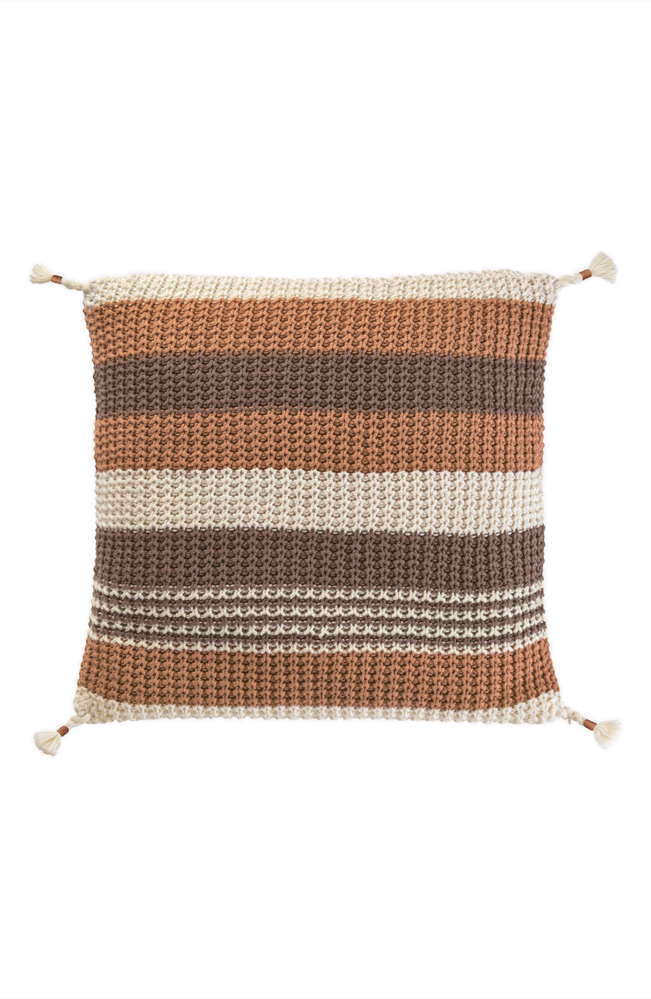 Horizon Stripe Knit Accent Pillow,                         Main,                         color, Tan Multi