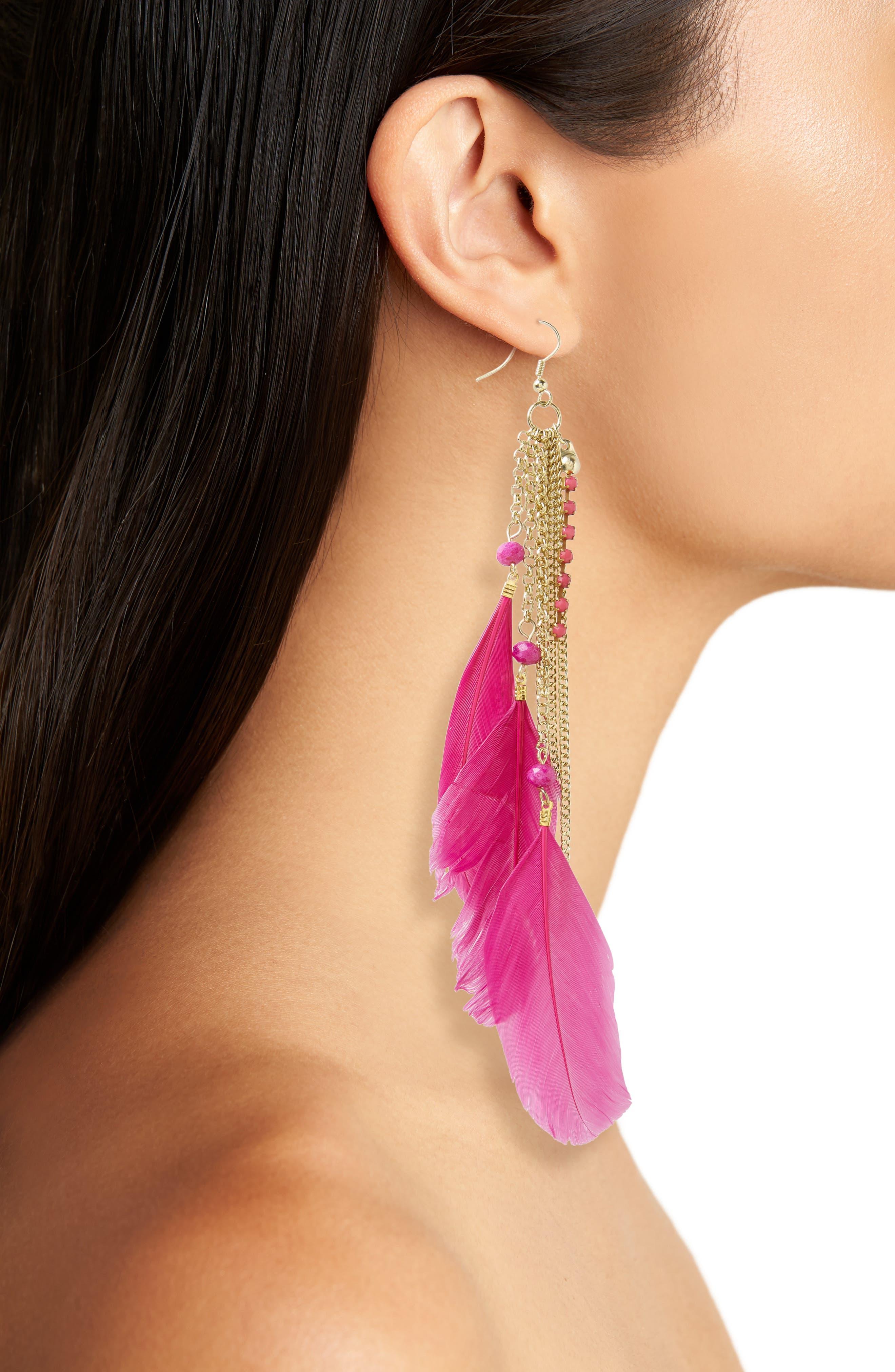 Chloe Feather Earrings,                             Alternate thumbnail 2, color,                             Fuschia