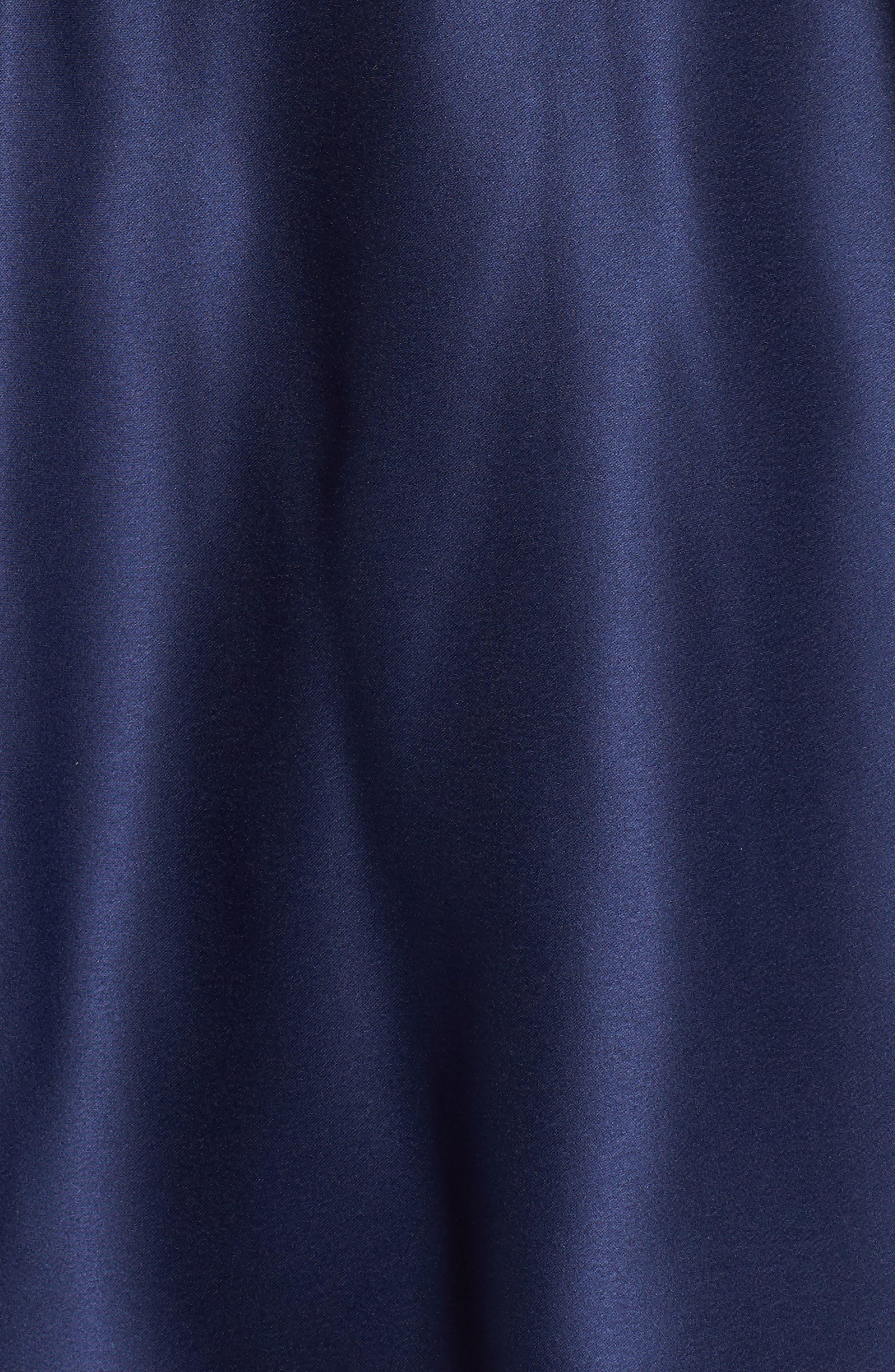 Embellished Satin Fit & Flare Dress,                             Alternate thumbnail 5, color,                             Navy