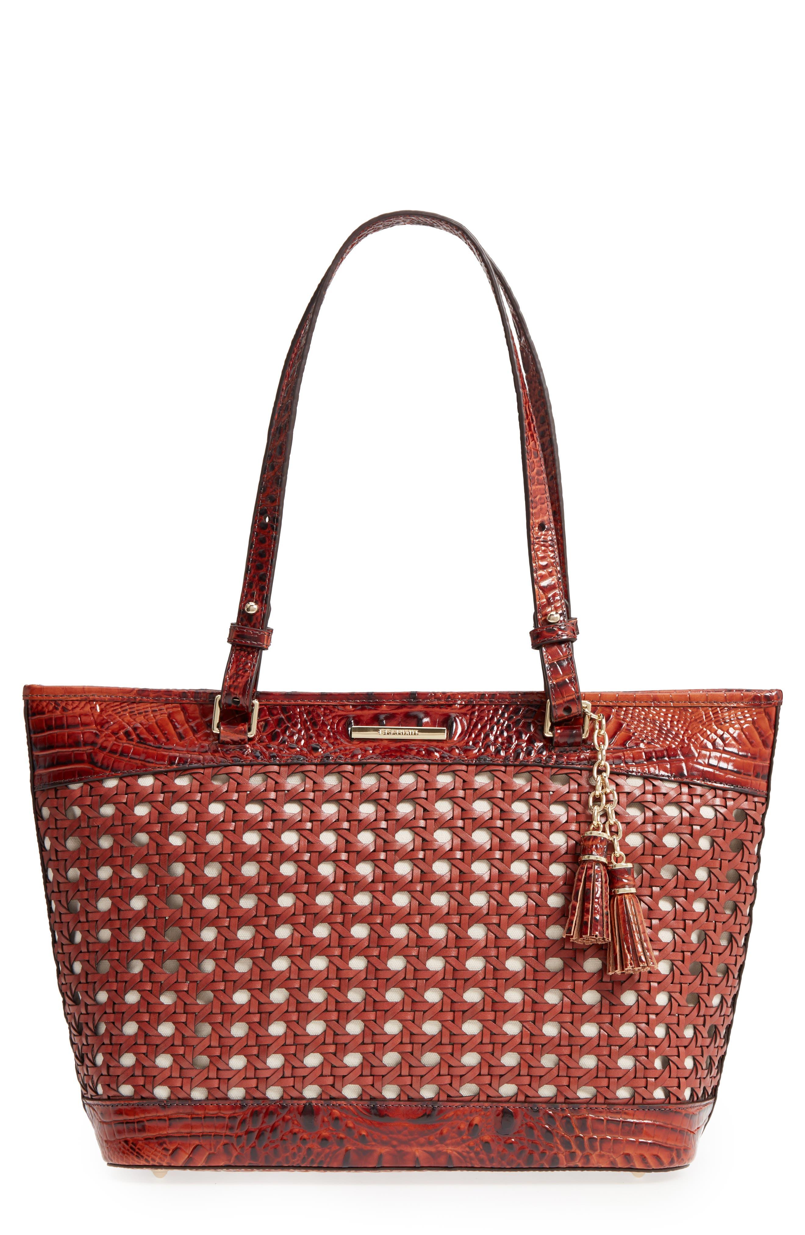 Medium Asher Leather Tote Bag,                             Main thumbnail 1, color,                             Pecan