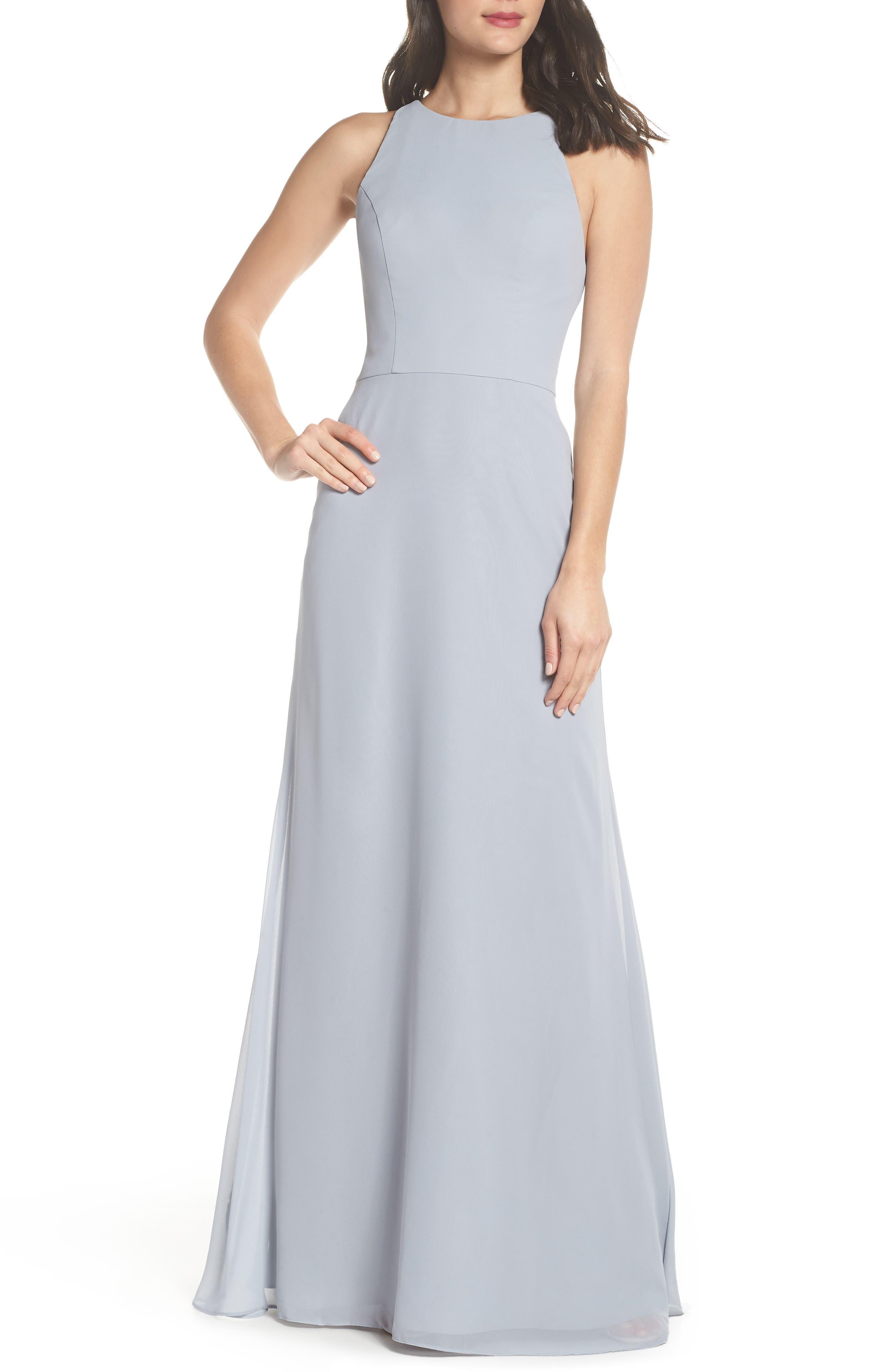 Crewneck Chiffon Gown,                         Main,                         color, Platinum