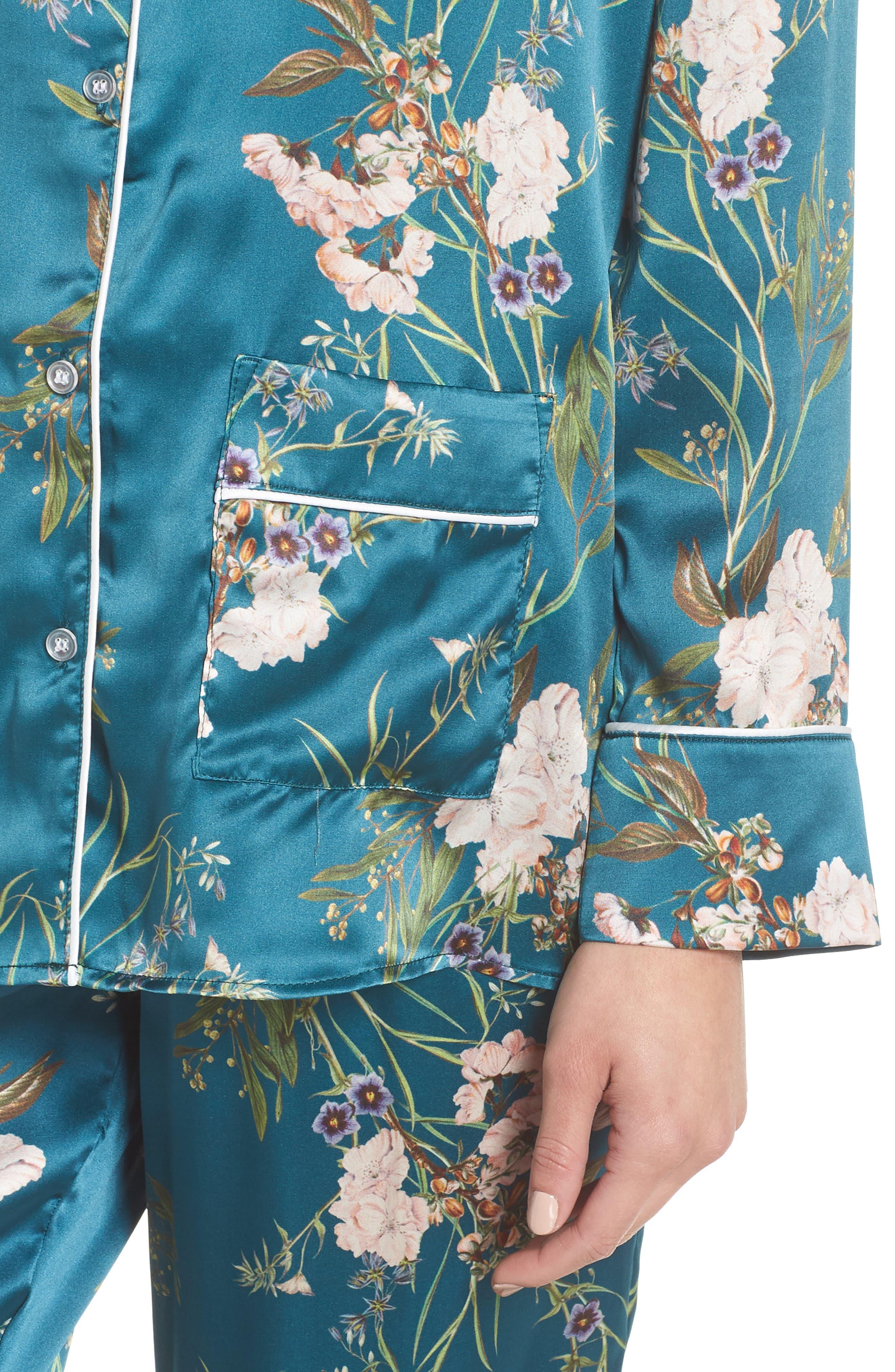 Brigette Silk Pajama Top,                             Alternate thumbnail 5, color,                             Teal Floral